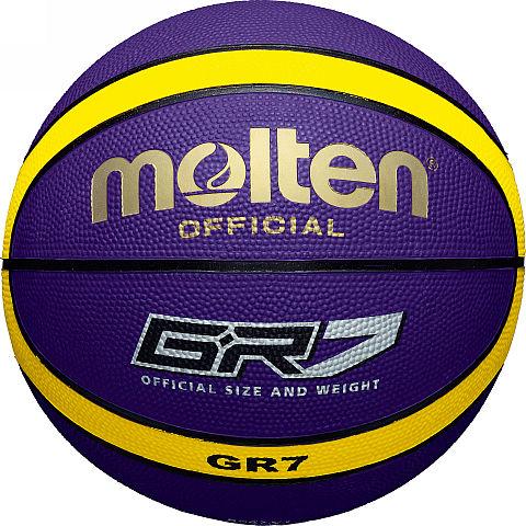 Мяч баскетбольный Molten GR7, цвет: синий. Размер 7BGR7-VYБаскетбольный мяч Molten произведен из специальной резины с увеличенной износостойкостью. Имеет шероховатую поверхность. 12-панельный дизайн. Предназначен для профессиональных тренировок. Мяч доставляется в ненакачанном виде.