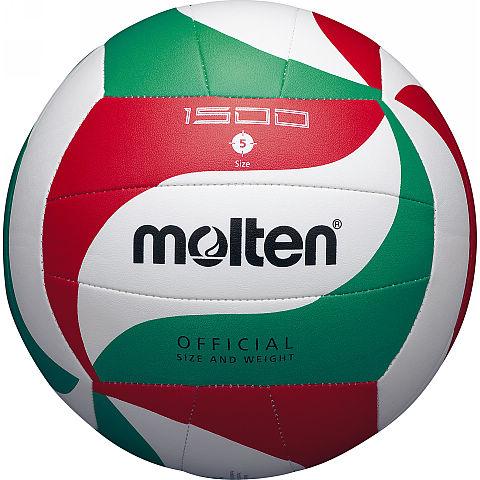 Мяч волейбольный Molten V5M1500, цвет: белый, красный, зеленый. Размер 5V5M1500Модель мяча Molten из мягкой синтетической кожи отлично подойдет для школьных тренировок и любительской игры. Оригинальный дизайн панелей. Машинное шитье.