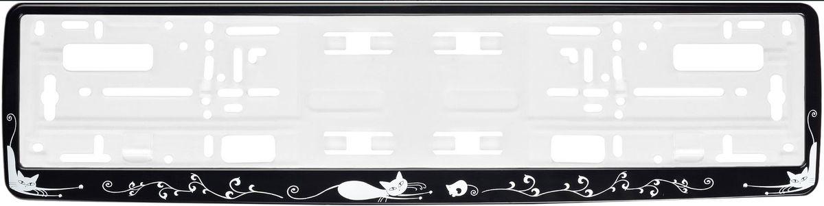 Рамка под номер Кошки, цвет: черныйЗ0000013064Рамка Кошки не только закрепит регистрационный знак на вашем автомобиле, но и красиво его оформит. Основание рамки выполнено из полипропилена, материал лицевой панели - пластик. Она предназначена для крепления регистрационного знака российского и европейского образца, декорирована изображением кошек. Устанавливается на все типы автомобилей. Крепления в комплект не входят. Стильный дизайн идеально впишется в экстерьер вашего автомобиля. Размер рамки: 53,5 см х 13,5 см. Размер регистрационного знака: 52,5 см х 11,5 см.