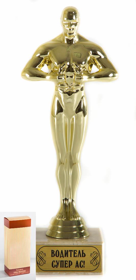 Кубок Оскар Водитель Супер АС!, h24см, картонная коробка030520011Фигурка подарочная объемная,с основанием из искусственного мрамора h 24см золотой
