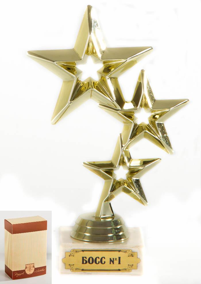 Кубок Три звезды. Босс №1!, высота 17 см030523011Элегантный кубок Три звезды. Босс №1! станет замечательным сувениром. Кубок в виде трех звезд выполнен из пластика с золотистым покрытием. Основание изготовлено из искусственного мрамора и оформлено надписью Босс №1!. Такой кубок обязательно порадует получателя, вызовет улыбку и массу положительных эмоций.