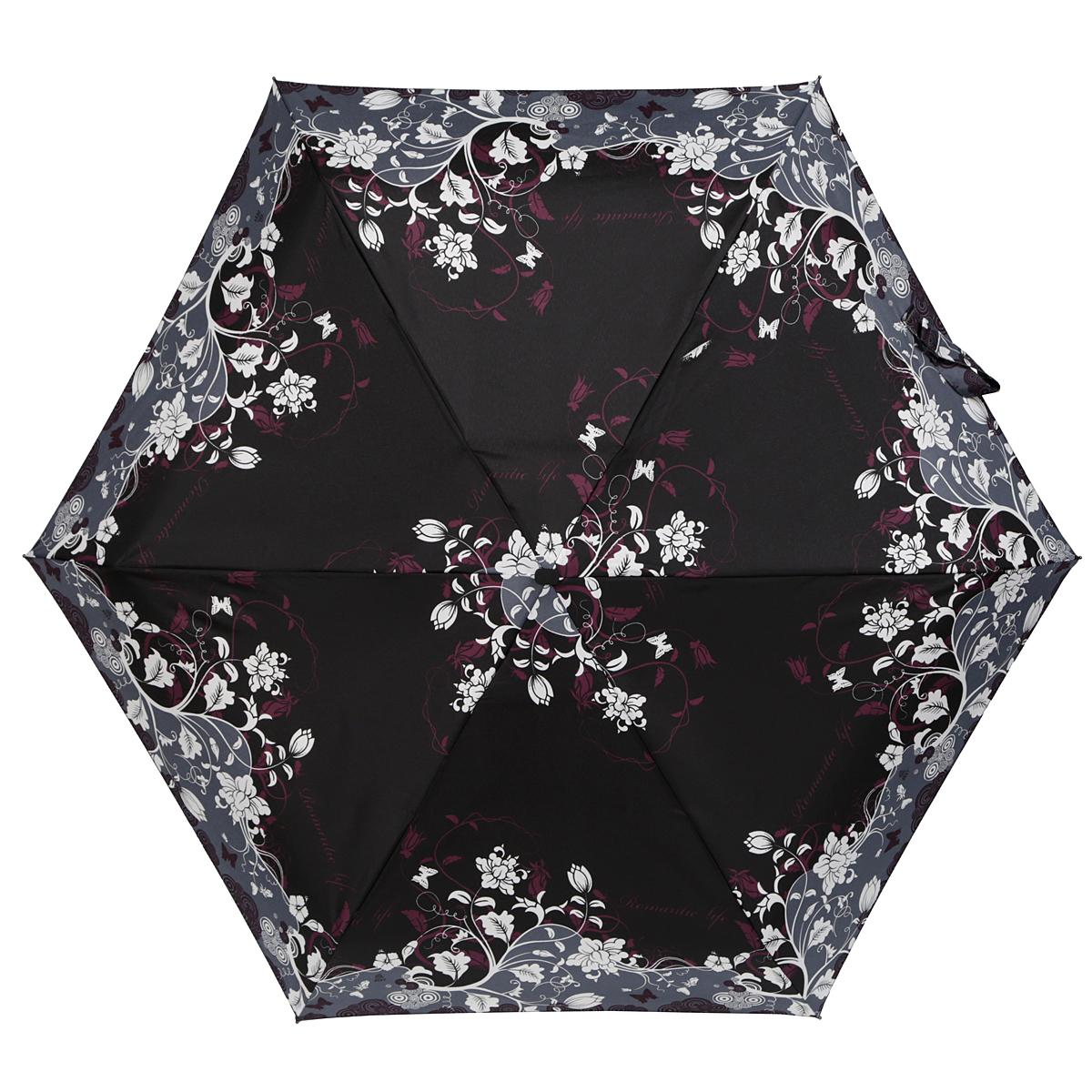 Зонт женский Zest, механический, 5 сложений, цвет: черный, серый, белый, фиолетовый. 25569-802525569-8025Элегантный механический зонт Zest в 5 сложений изготовлен из высокопрочных материалов. Каркас зонта состоит из 6 спиц и прочного алюминиевого стержня. Специальная система Windproof защищает его от поломок во время сильных порывов ветра. Купол зонта выполнен из прочного полиэстера с водоотталкивающей пропиткой и оформлен стильным цветочным узором. Используемые высококачественные красители обеспечивают длительное сохранение свойств ткани купола. Рукоятка, разработанная с учетом требований эргономики, выполнена из пластика. Зонт механического сложения: купол открывается и закрывается вручную до характерного щелчка. Небольшой шнурок, расположенный на рукоятке, позволяет надеть изделие на руку при необходимости. Модель закрывается при помощи хлястика на застежку-липучку. К зонту прилагается чехол. Прелестный зонт не только выручит вас в ненастную погоду, но и станет стильным аксессуаром, который прекрасно дополнит ваш модный образ.