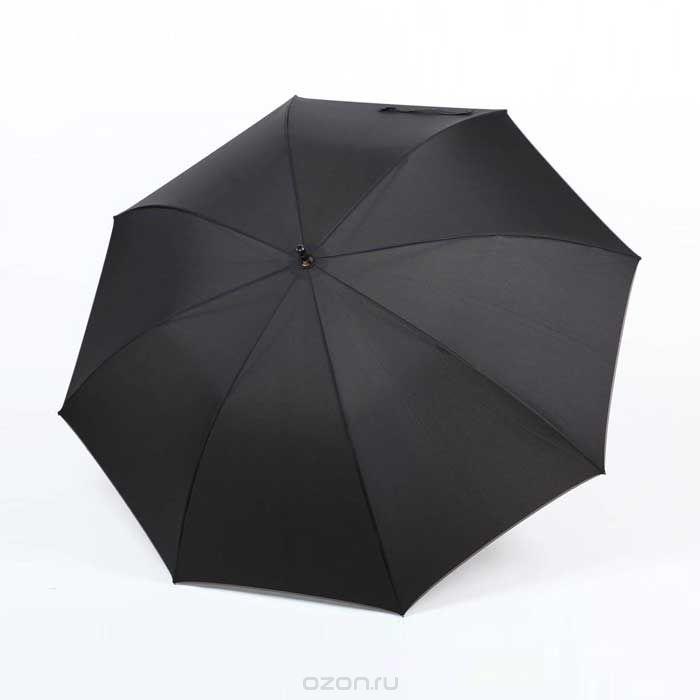 Зонт-трость мужской Zest, полуавтомат, цвет: черный. 4167041670Мужской полуавтоматический зонт-трость Zest даже в ненастную погоду позволит вам оставаться стильным. Каркас зонта состоит из 8 спиц и прочного стержня из металла. Специальная система Windproof защищает его от поломок во время сильных порывов ветра. Купол зонта черного цвета выполнен из прочного полиэстера с водоотталкивающей пропиткой, по краю оформлен полоской серого цвета. Используемые высококачественные красители, а также покрытие Teflon обеспечивают длительное сохранение свойств ткани купола. Рукоятка, разработанная с учетом требований эргономики, выполнена из прорезиненного пластика и оформлена металлической вставкой. Зонт имеет полуавтоматический механизм сложения: купол открывается нажатием на кнопку и закрывается вручную до характерного щелчка. К зонту прилагается удобный чехол с ремнем регулируемой длины для переноски на плече. Такой зонт не только надежно защитит вас от дождя, но и станет стильным аксессуаром.
