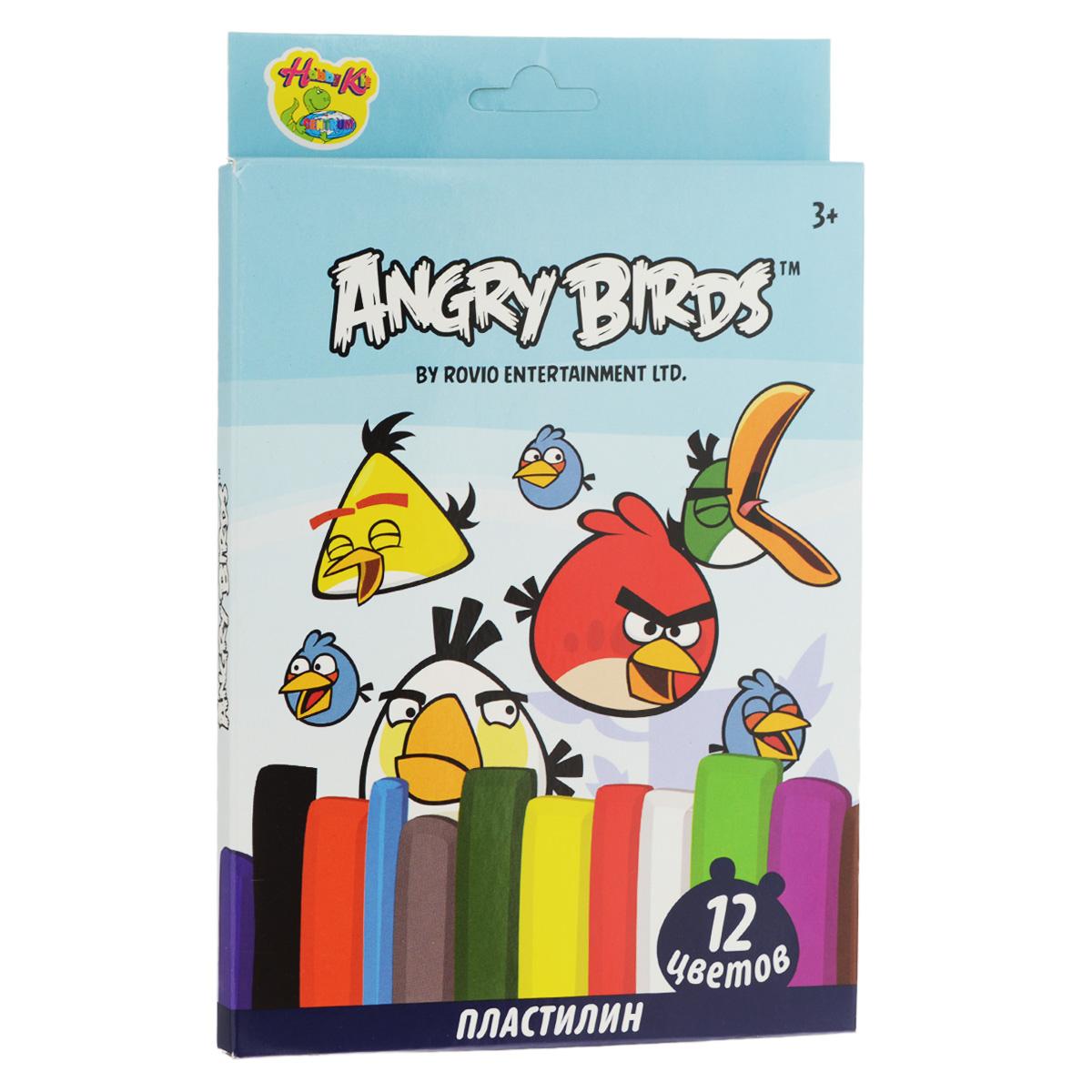 Пластилин Angry Birds, 12 цветов. 8496684966Пластилин Angry Birds - это отличная возможность познакомить ребенка с еще одним из видов изобразительного творчества, в котором создаются объемные образы и целые композиции. В набор входит пластилин 12 ярких цветов (красный, темно-зеленый, черный, оранжевый, светло-зеленый, фиолетовый, белый, желтый, синий, коричневый, голубой, серый), а также пластиковый стек для нарезания пластилина. Цвета пластилина легко смешиваются между собой, и таким образом можно получить новые оттенки. Пластилин имеет яркие, красочные цвета и не липнет к рукам. Техника лепки богата и разнообразна, но при этом доступна даже маленьким детям. Занятия лепкой не только увлекательны, но и полезны для ребенка. Они способствуют развитию творческого и пространственного мышления, восприятия формы, фактуры, цвета и веса, развивают воображение и мелкую моторику.
