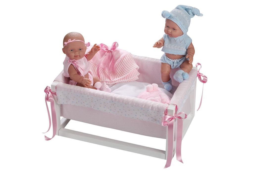 Llorens Кукла Бэбитос 26 см 2 шт. в кроватке