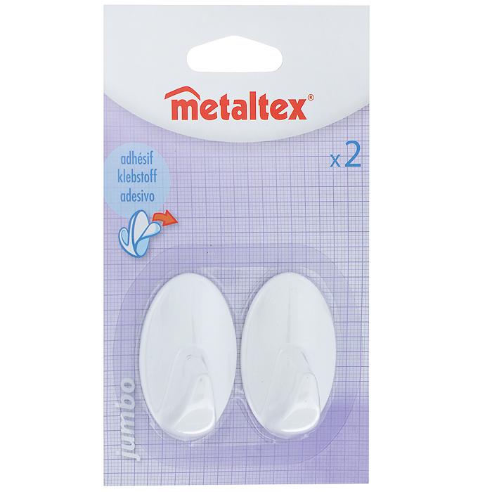 Крючки самоклеящиеся Metaltex Jumbo, цвет: белый, 2 шт29.10.02Крючки Metaltex Jumbo изготовлены из качественного пластика. Предназначены для использования на кухне и в ванной комнате. Достаточно снять защитную пленку с обратной стороны изделия и приложить к ровной поверхности. Размер: 5,5 см х 3,5 см х 3 см.