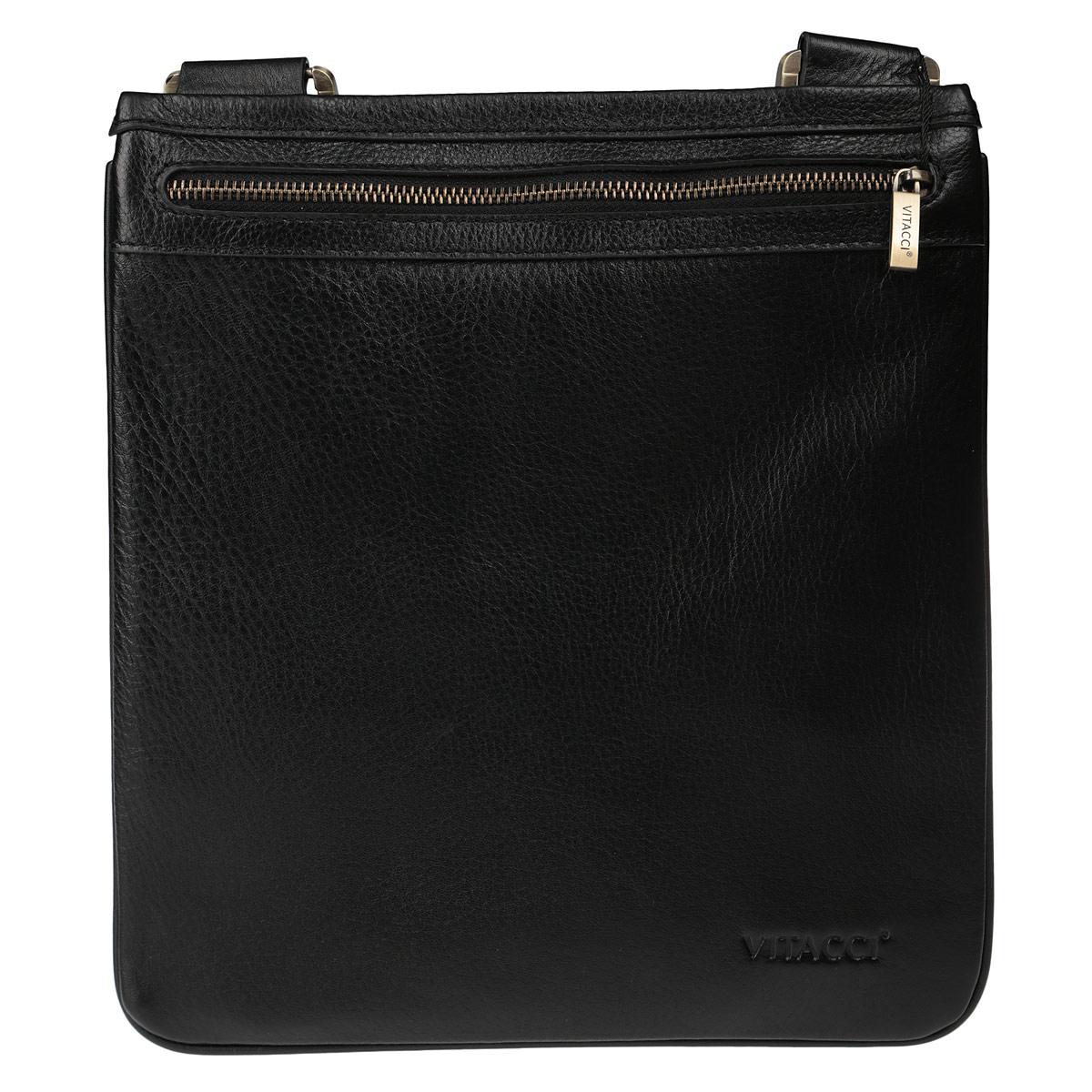 Сумка мужская Vitacci, цвет: черный. LB0038LB0038Стильная мужская сумка Vitacci выполнена из натуральной кожи и оформлена тиснением в виде логотипа бренда. Модель состоит из одного большого отделения, застегивающегося на застежку-молнию. Плечевой ремень регулируется по длине. Отличная модель, которая подчеркнет ваш образ.