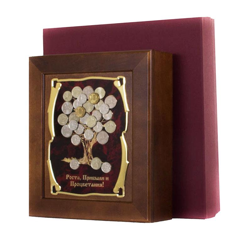 Ключница Денежное дерево Роста,Прибыли и Процветания,36,5х32см, подарочная коробка50208001Настенная ключница из натурального дерева, с натурального деревас внутренней бархатной отделкой, декорированна метализированной пластиной с лазерной гравировкой и накладкой, упакованна в подарочный футляр, размер 36,5х32х7см, коричневый/золотой