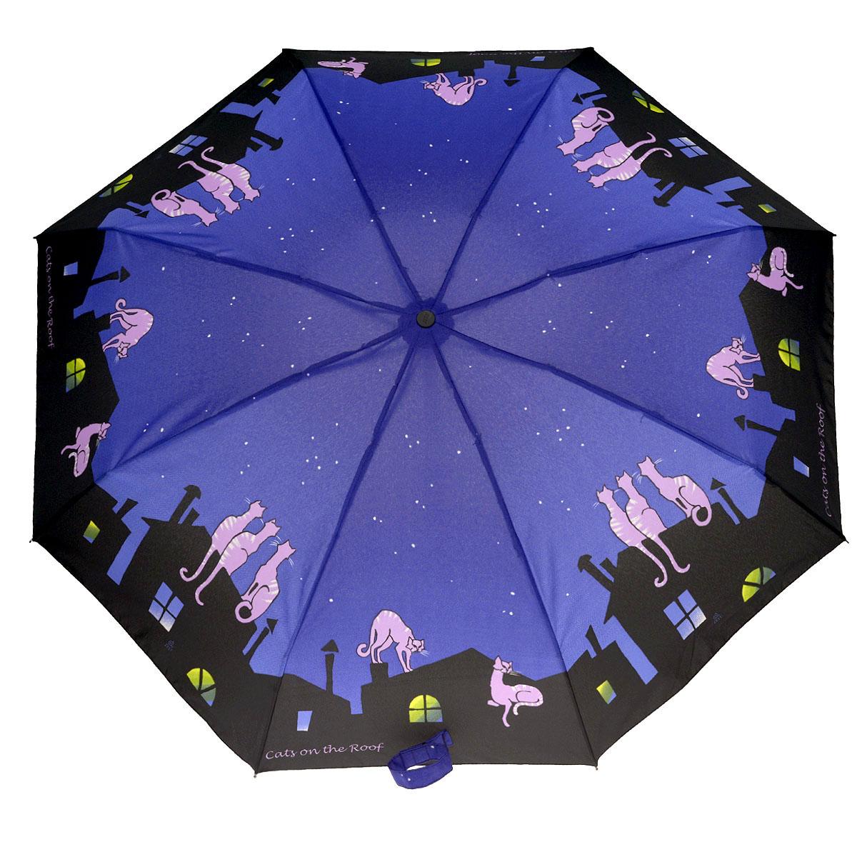 Зонт женский Zest, автомат, 4 сложения, цвет: синий, черный. 24756-27824756-278Очаровательный автоматический зонт Zest в 4 сложения изготовлен из высокопрочных материалов. Каркас зонта состоит из 8 спиц и прочного алюминиевого стержня. Специальная система Windproof защищает его от поломок во время сильных порывов ветра. Купол зонта выполнен из прочного полиэстера с водоотталкивающей пропиткой и оформлен изображением котов на фоне ночного города. Используемые высококачественные красители обеспечивают длительное сохранение свойств ткани купола. Рукоятка, разработанная с учетом требований эргономики, выполнена из пластика. Зонт имеет полный автоматический механизм сложения: купол открывается и закрывается нажатием кнопки на рукоятке, стержень складывается вручную до характерного щелчка. Благодаря этому открыть и закрыть зонт можно одной рукой, что чрезвычайно удобно при входе в транспорт или помещение. Небольшой шнурок, расположенный на рукоятке, позволяет надеть изделие на руку при необходимости. Модель закрывается при помощи хлястика на...