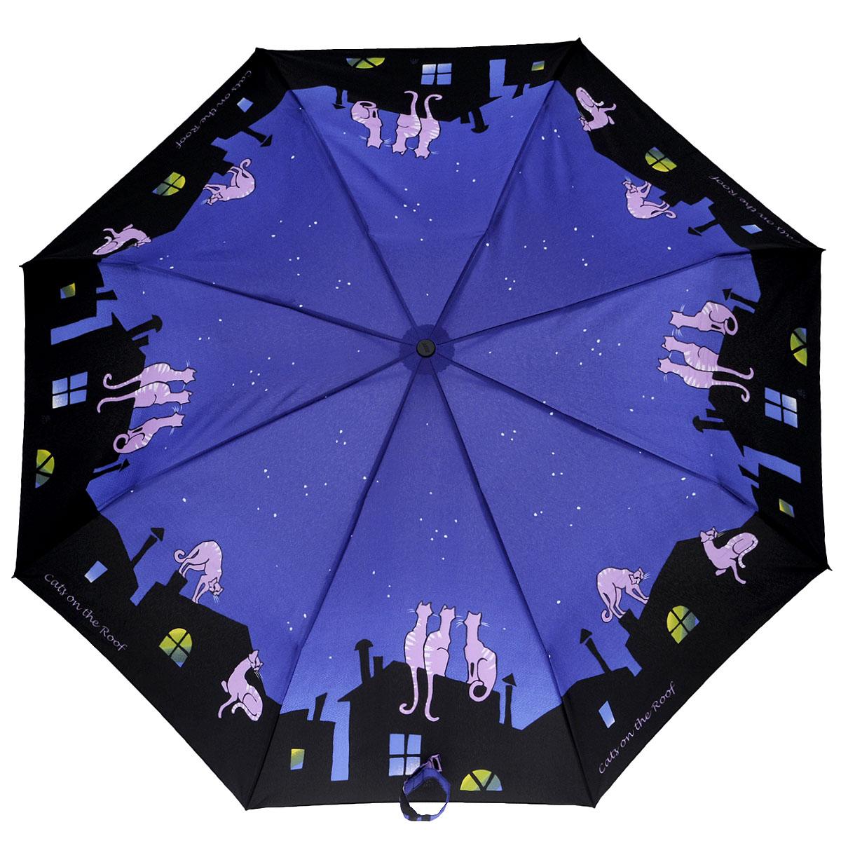 Зонт женский Zest, автомат, 3 сложения, цвет: синий, черный. 23926-27823926-278Очаровательный автоматический зонт Zest в 3 сложения изготовлен из высокопрочных материалов. Каркас зонта состоит из 8 спиц и прочного алюминиевого стержня. Специальная система Windproof защищает его от поломок во время сильных порывов ветра. Купол зонта выполнен из прочного полиэстера с водоотталкивающей пропиткой и оформлен изображением котов на фоне ночного города. Используемые высококачественные красители обеспечивают длительное сохранение свойств ткани купола. Рукоятка, разработанная с учетом требований эргономики, выполнена из пластика. Зонт имеет полный автоматический механизм сложения: купол открывается и закрывается нажатием кнопки на рукоятке, стержень складывается вручную до характерного щелчка. Благодаря этому открыть и закрыть зонт можно одной рукой, что чрезвычайно удобно при входе в транспорт или помещение. Небольшой шнурок, расположенный на рукоятке, позволяет надеть изделие на руку при необходимости. Модель закрывается при помощи хлястика на...