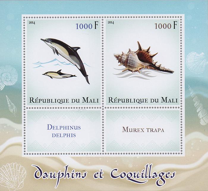 Почтовый блок Дельфины и раковинные моллюски. Мали, 2014 годK421306Почтовый блок Дельфины и раковинные моллюски. Мали, 2014 год. Размер блока: 11 х 12 см. Размер марок: 5.5 х 4.5 см, 3 х 4.5 см. Сохранность хорошая.