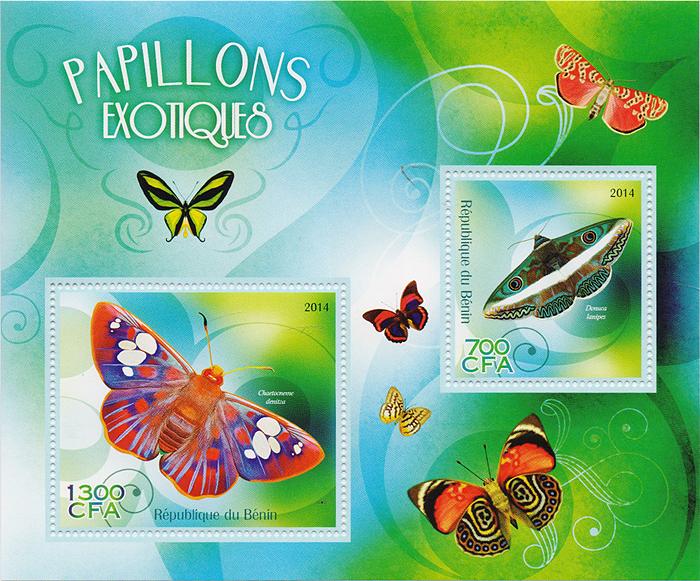Почтовый блок Экзотические бабочки. Бенин, 2014 годK421306Почтовый блок Экзотические бабочки. Бенин, 2014 год. Размер блока: 12 х 14 см. Размер марок: 4.5 х 4 см, 5 х 6 см. Сохранность хорошая.