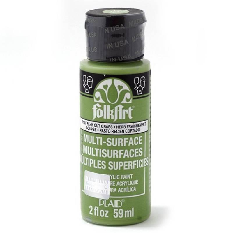 Краска акриловая FolkArt Multi-Surface, цвет: скошенная трава (2916), 59 млPLD-02916Акриловая краска FolkArt Multi-Surface - это прочная погодоустойчивая сатиновая краска для различных поверхностей: стекло, керамика, дерево, металл пластик, ткань, холст, бумага, глина. Идеально подходит как для использования в помещении, так и для наружного применения. Изделия, покрытые такой краской, можно мыть в посудомоечной машине в верхнем отсеке. Не токсична, на водной основе. Перед применением краску необходимо хорошо встряхнуть. Краски разных цветов можно смешивать между собой. Перед повторным нанесением краски дать высохнуть в течении 1 часа. До высыхания может быть смыта водой с мылом.