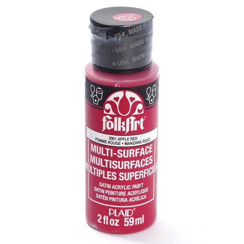 Краска акриловая FolkArt Multi-Surface, цвет: красное яблоко (2901), 59 млPLD-02901Акриловая краска FolkArt Multi-Surface - это прочная погодоустойчивая сатиновая краска для различных поверхностей: стекло, керамика, дерево, металл пластик, ткань, холст, бумага, глина. Идеально подходит как для использования в помещении, так и для наружного применения. Изделия, покрытые такой краской, можно мыть в посудомоечной машине в верхнем отсеке. Не токсична, на водной основе. Перед применением краску необходимо хорошо встряхнуть. Краски разных цветов можно смешивать между собой. Перед повторным нанесением краски дать высохнуть в течении 1 часа. До высыхания может быть смыта водой с мылом.
