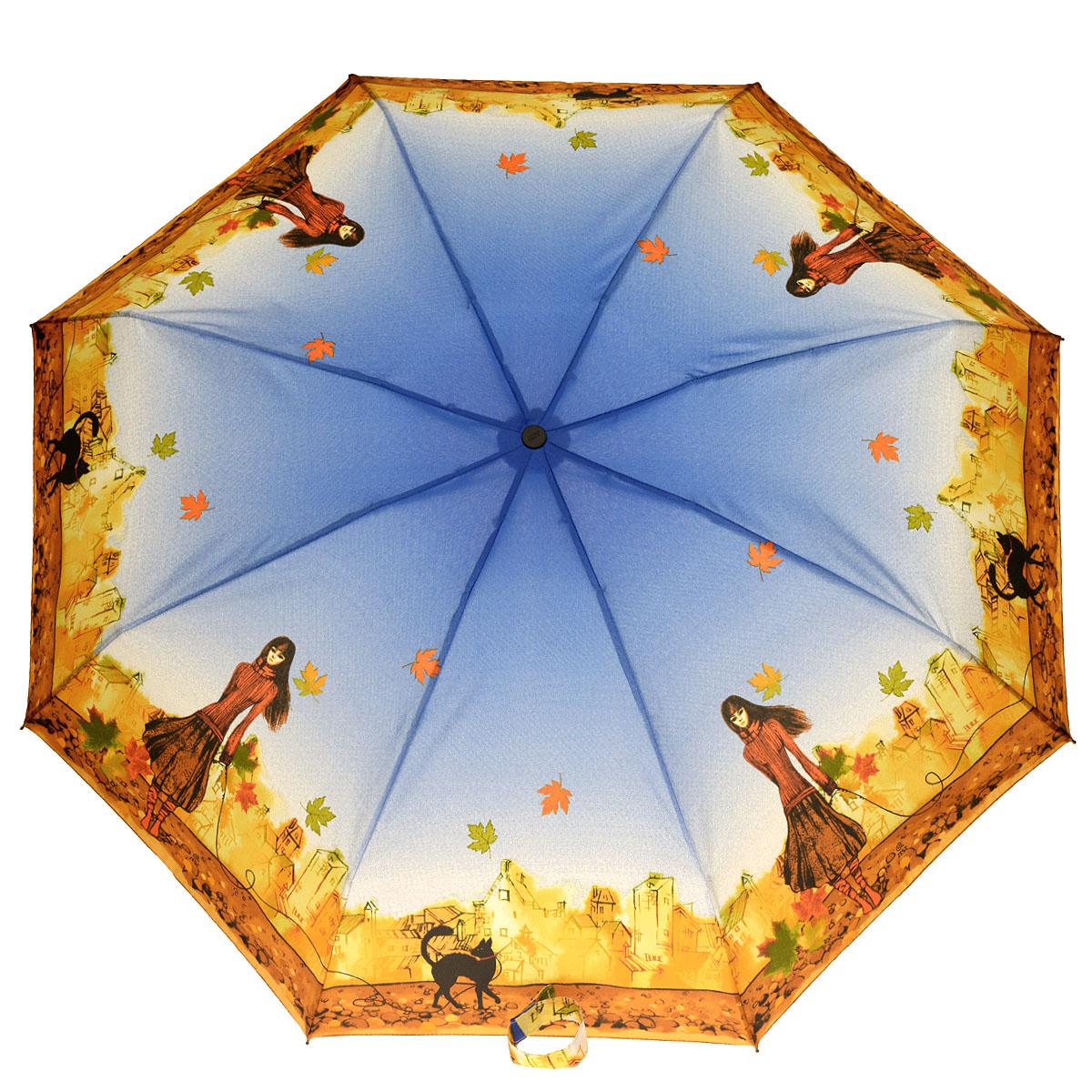 Зонт женский Zest, автомат, 4 сложения, цвет: синий, оранжево-красный. 24756-802724756-8027Очаровательный автоматический зонт Zest в 4 сложения изготовлен из высокопрочных материалов. Каркас зонта состоит из 8 спиц и прочного алюминиевого стержня. Специальная система Windproof защищает его от поломок во время сильных порывов ветра. Купол зонта выполнен из прочного полиэстера с водоотталкивающей пропиткой и оформлен изображением девушки с черной кошкой на поводке на фоне осеннего города. Используемые высококачественные красители обеспечивают длительное сохранение свойств ткани купола. Рукоятка, разработанная с учетом требований эргономики, выполнена из пластика. Зонт имеет полный автоматический механизм сложения: купол открывается и закрывается нажатием кнопки на рукоятке, стержень складывается вручную до характерного щелчка. Благодаря этому открыть и закрыть зонт можно одной рукой, что чрезвычайно удобно при входе в транспорт или помещение. Небольшой шнурок, расположенный на рукоятке, позволяет надеть изделие на руку при необходимости. Модель закрывается при...
