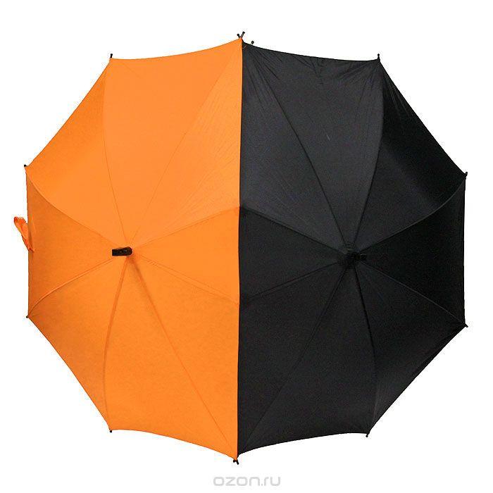 Зонт-трость Для двоих, полуавтомат, цвет: черный, оранжевыйOAcUm-04Эффектный полуавтоматический зонт-трость Для двоих имеет специальную вытянутую форму, чтобы полностью закрывать от дождя двоих человек. Если во время романтической прогулки вас настигла непогода, не спишите искать укрытие, сближающий зонт сделает вашу прогулку еще более запоминающейся. Купол зонта выполнен из набивного полиэфира с водоотталкивающей пропиткой. Каркас купола - из двенадцати металлических спиц. Удобная закругленная рукоятка изготовлена из пластика. Зонт-трость имеет полуавтоматический механизм сложения: купол открывается нажатием кнопки на рукоятке, а закрывается вручную до характерного щелчка.