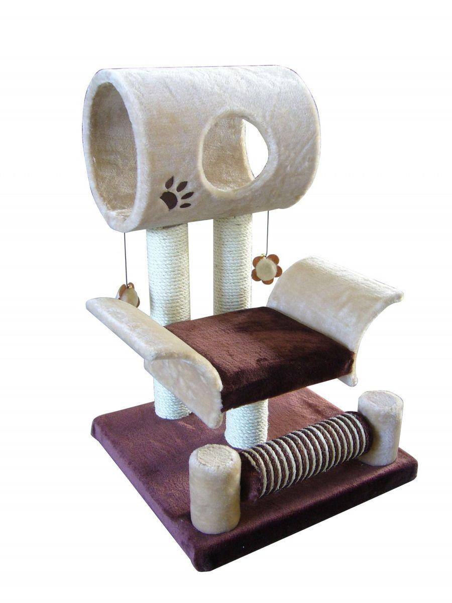 Игровая площадка для кошек Fauna Limbo, цвет: бежевый, коричневый, 45 см х 45 см х 79 см15302Игровая площадка для кошек Fauna Limbo обязательно понравится вашей кошке и станет ее излюбленным местом для отдыха и игр. Площадка изготовлена из ДВП и обтянута мягким плюшевым текстилем. Имеет 2 уровня: лежак с загнутыми бортами и домик-трубу с окошком. Для игр предусмотрены подвесные игрушки-цветочки на веревках, а чтобы поточить когти - столбики-когтеточки. Площадка сконструирована так, чтобы кошка могла увлекательно поиграть, комфортно подремать и иметь прекрасный обзор всей комнаты. Игровые площадки Fauna созданы с любовью, вниманием и заботой о ваших кошках. Этим пушистым непоседам нравится играть и прыгать, забираться повыше, точить когти, прятаться в укромных местах и сладко спать в теплых уютных домиках. Компания Fauna International представляет новую серию современных игровых площадок для веселых игр и сладких снов! Диаметр трубы домика: 24 см.