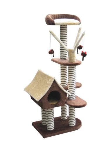 Игровая площадка для кошек Fauna Sagrada, цвет: коричневый, 54 см х 36 см х 128 см15375Многофункциональная игровая площадка Fauna Sagrada обязательно понравится вашей кошке и станет ее излюбленным местом для отдыха и игр. Площадка изготовлена из ДВП и обтянута мягким плюшевым текстилем, также использовались сизаль, морские водоросли и гипоаллергенное нейлоновое волокно. Имеет несколько уровней: домик-избушку, 4 плоские полки и мягкий лежак. Для игр предусмотрены подвесные игрушки на веревках, а чтобы поточить когти - несколько столбиков-когтеточек. Для привлечения внимания животного в мягкие декоративные элементы игровой площадки добавлены специальные хрустящие вставки, издающие приятный шорох, а также использована пропитка кошачьей мятой. Площадка сконструирована так, чтобы кошка подумала, что перед ней большое дерево, на которое можно вскарабкаться. В домик кошка может забраться, чтобы спрятаться и поспать, лежак - хорошее место, чтобы подремать и понаблюдать за происходящим вокруг, а полки станут прекрасным местом для развлечений. Оригинальный дизайн...