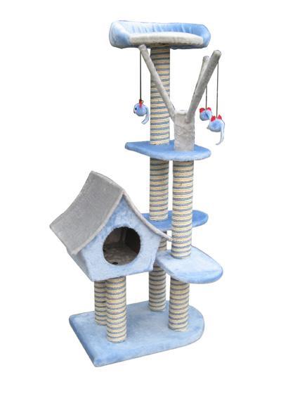 Игровая площадка для кошек Fauna Sagrada, цвет: голубой, 54 см х 36 см х 128 см15449Многофункциональная игровая площадка Fauna Sagrada обязательно понравится вашей кошке и станет ее излюбленным местом для отдыха и игр. Площадка изготовлена из ДВП и обтянута мягким плюшевым текстилем, также использовались сизаль, морские водоросли и гипоаллергенное нейлоновое волокно. Имеет несколько уровней: домик-избушку, 4 плоские полки и мягкий лежак. Для игр предусмотрены подвесные игрушки на веревках, а чтобы поточить когти - несколько столбиков-когтеточек. Для привлечения внимания животного в мягкие декоративные элементы игровой площадки добавлены специальные хрустящие вставки, издающие приятный шорох, а также использована пропитка кошачьей мятой. Площадка сконструирована так, чтобы кошка подумала, что перед ней большое дерево, на которое можно вскарабкаться. В домик кошка может забраться, чтобы спрятаться и поспать, лежак - хорошее место, чтобы подремать и понаблюдать за происходящим вокруг, а полки станут прекрасным местом для развлечений. Оригинальный дизайн...