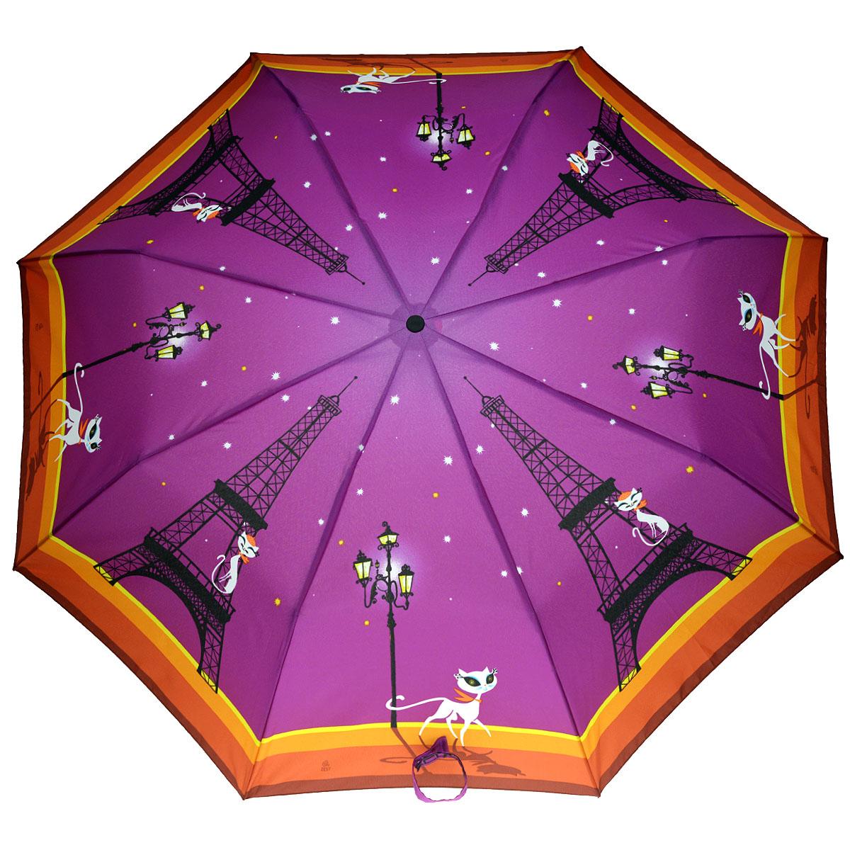Зонт женский Zest, автомат, 3 сложения, цвет: фиолетовый. 23926-810523926-8105Очаровательный автоматический зонт Zest в 3 сложения изготовлен из высокопрочных материалов. Каркас зонта состоит из 8 спиц и прочного алюминиевого стержня. Специальная система Windproof защищает его от поломок во время сильных порывов ветра. Купол зонта выполнен из прочного полиэстера с водоотталкивающей пропиткой и оформлен забавным изображением кошечки, разгуливающей по Парижу, и кота на Эйфелевой башни. Используемые высококачественные красители обеспечивают длительное сохранение свойств ткани купола. Рукоятка, разработанная с учетом требований эргономики, выполнена из пластика. Зонт имеет полный автоматический механизм сложения: купол открывается и закрывается нажатием кнопки на рукоятке, стержень складывается вручную до характерного щелчка. Благодаря этому открыть и закрыть зонт можно одной рукой, что чрезвычайно удобно при входе в транспорт или помещение. Небольшой шнурок, расположенный на рукоятке, позволяет надеть изделие на руку при необходимости. Модель...