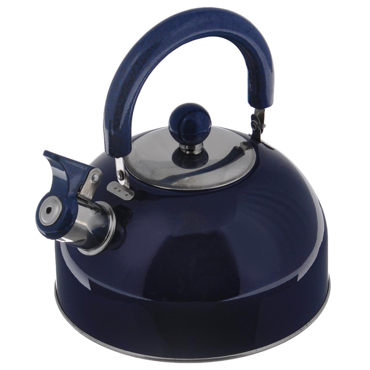 Чайник Mayer & Boch Modern со свистком, цвет: синий, 2 л. МВ-3226МВ-3226Чайник Mayer & Boch Modern изготовлен из высококачественной нержавеющей стали. Гладкая и ровная поверхность существенно облегчает уход. Чайник оснащен удобной нейлоновой ручкой, которая не нагревается даже при продолжительном периоде нагрева воды. Носик чайника имеет насадку-свисток, что позволит вам контролировать процесс подогрева или кипячения воды. Выполненный из качественных материалов чайник Mayer & Boch Modern при кипячении сохраняет все полезные свойства воды. Чайник пригоден для использования на всех типах плит, кроме индукционных. Можно мыть в посудомоечной машине. Диаметр чайника по верхнему краю: 8,5 см. Диаметр основания: 19 см. Высота чайника (без учета ручки и крышки): 10 см. УВАЖАЕМЫЕ КЛИЕНТЫ! Обращаем ваше внимание на тот факт, что указан максимальный объем чайника с учетом полного наполнения до кромки. Объем чайника с учетом наполнения до уровня носика составляет 1,5 литра.