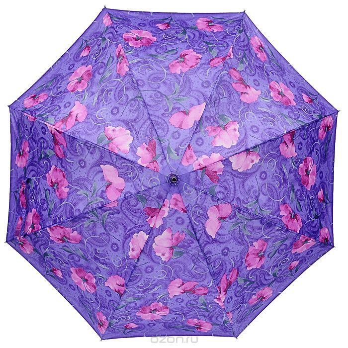 Зонт-трость Edmins, цвет: сиреневый, розовый. 503/11 E503/11 ЕСтильный зонт-трость Edmins даже в ненастную погоду позволит вам оставаться стильной и элегантной. Каркас зонта выполнен из восьми металлических спиц, удобная закругленная рукоятка - из дерева. Купол зонта выполнен из полиэстера сиреневого цвета с изображением розовых цветов. Зонт имеет полуавтоматический механизм складывания-раскладывания: купол открывается нажатием кнопки на рукоятке; складывается зонт вручную до характерного щелчка.