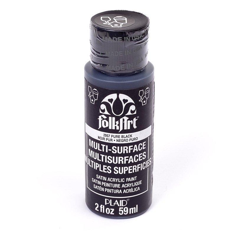 Краска акриловая FolkArt Multi-Surface, цвет: чистый черный (2957), 59 млPLD-02957Акриловая краска FolkArt Multi-Surface - это прочная погодоустойчивая сатиновая краска для различных поверхностей: стекло, керамика, дерево, металл пластик, ткань, холст, бумага, глина. Идеально подходит как для использования в помещении, так и для наружного применения. Изделия, покрытые такой краской, можно мыть в посудомоечной машине в верхнем отсеке. Не токсична, на водной основе. Перед применением краску необходимо хорошо встряхнуть. Краски разных цветов можно смешивать между собой. Перед повторным нанесением краски дать высохнуть в течении 1 часа. До высыхания может быть смыта водой с мылом.
