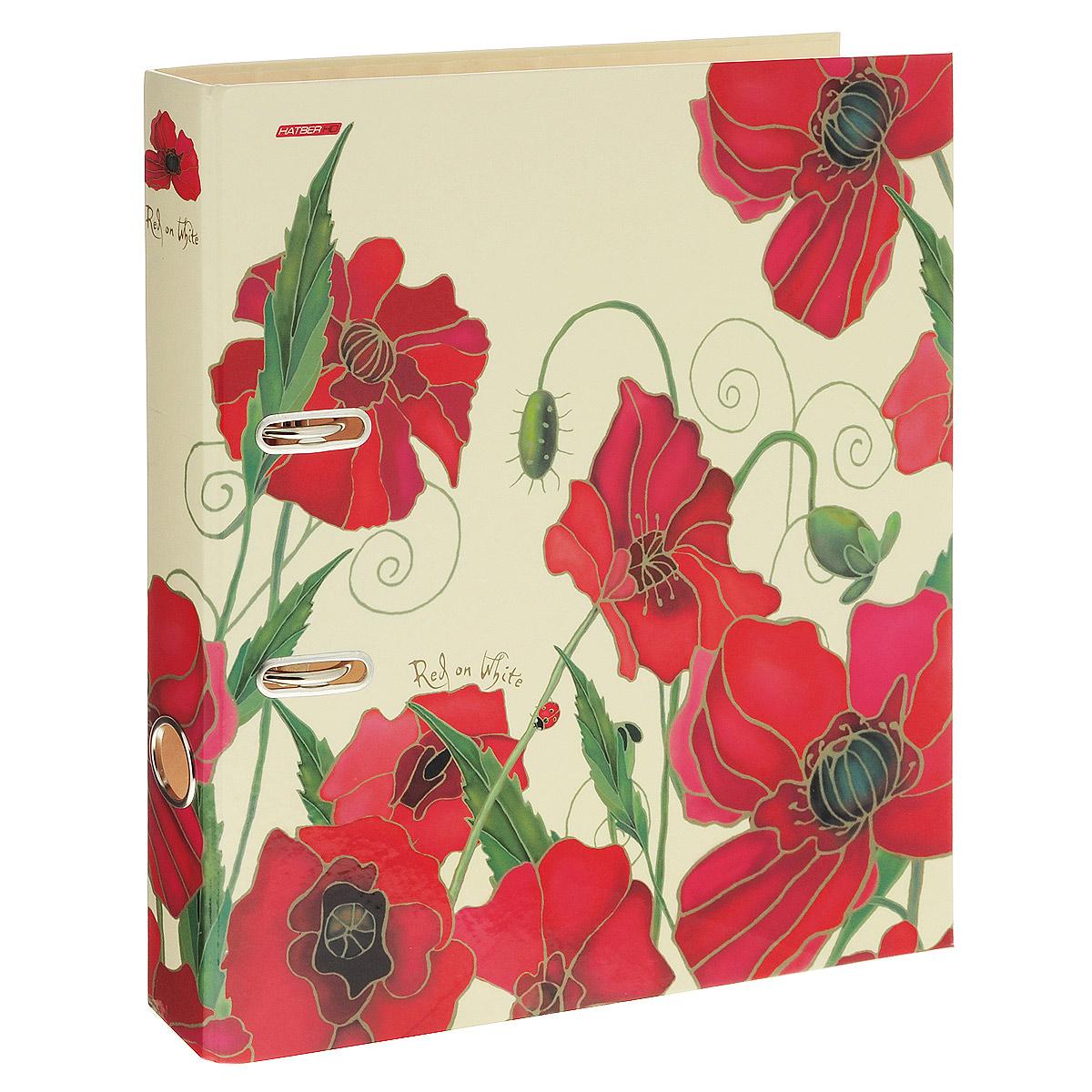 Папка-регистратор Hatber Red on White, ширина корешка 45 мм, цвет: бежевый, красныйПР4_10642Красочная папка-регистратор Hatber Red on White пригодится в каждом офисе и доме для хранения больших объемов документов. Внешняя сторона папки выполнена из плотного ламинированного картона бежевого цвета и оформлена изображениями красных цветов. Папка-регистратор оснащена надежным арочным механизмом крепления бумаги. Круглое отверстие в корешке папки облегчит ее извлечение с полки.