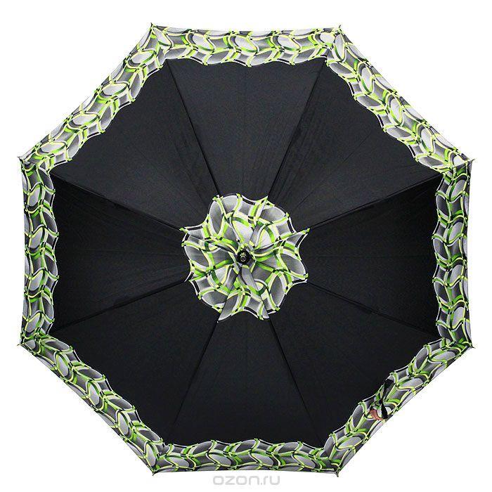 Зонт-трость женский Edmins, полуавтомат, цвет: черный. 503 52503 52Полуавтоматический зонт-трость Edmins даже в ненастную погоду позволит вам оставаться стильной и элегантной. Купол зонта выполнен из прочного полиэстера черного цвета с принтом по краю и в центре в виде размытой клетки серого и зеленого цветов. Каркас зонта выполнен из 8 пластиковых спиц. Закругленная рукоятка - из дерева. Зонт имеет полуавтоматический механизм сложения: купол открывается нажатием кнопки, а закрывается вручную до характерного щелчка.
