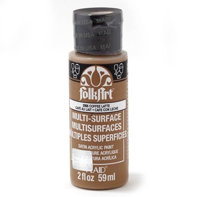 Краска акриловая FolkArt Multi-Surface, цвет: латте (2906), 59 млPLD-02906Акриловая краска FolkArt Multi-Surface - это прочная погодоустойчивая сатиновая краска для различных поверхностей: стекло, керамика, дерево, металл пластик, ткань, холст, бумага, глина. Идеально подходит как для использования в помещении, так и для наружного применения. Изделия, покрытые такой краской, можно мыть в посудомоечной машине в верхнем отсеке. Не токсична, на водной основе. Перед применением краску необходимо хорошо встряхнуть. Краски разных цветов можно смешивать между собой. Перед повторным нанесением краски дать высохнуть в течении 1 часа. До высыхания может быть смыта водой с мылом.