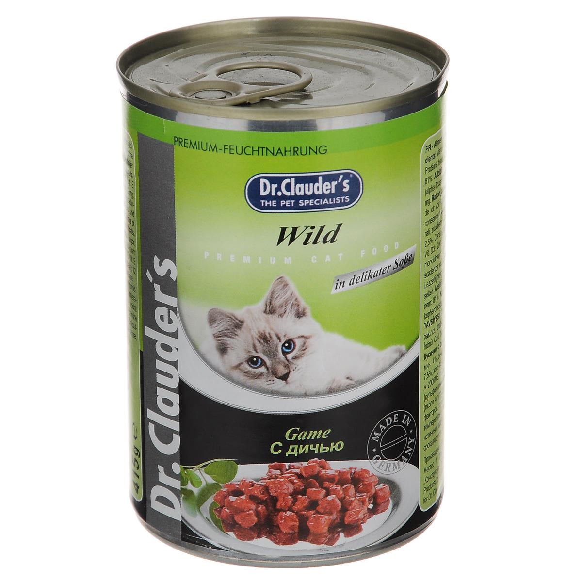 Консервы для кошек Dr. Clauders, с дичью, 415 г20673Консервы для кошек Dr.Clauders - полнорационный корм для взрослых кошек. Кусочки с дичью. Без консервантов и красителей. Состав: мясо и мясные субпродукты (мин. 4% дичи), злаки, минералы, сахар. Содержание питательных веществ: протеин 7,5%, жир 4,5%, зола 2,5%, клетчатка 0,5%, влага 81%. Пищевые добавки (на 1 кг): витамин А 20000 МЕ, витамин D3 200 МЕ, витамин Е (альфа-токоферол) 20 мг, таурин 350 мг, цинк 12 мг. Товар сертифицирован.