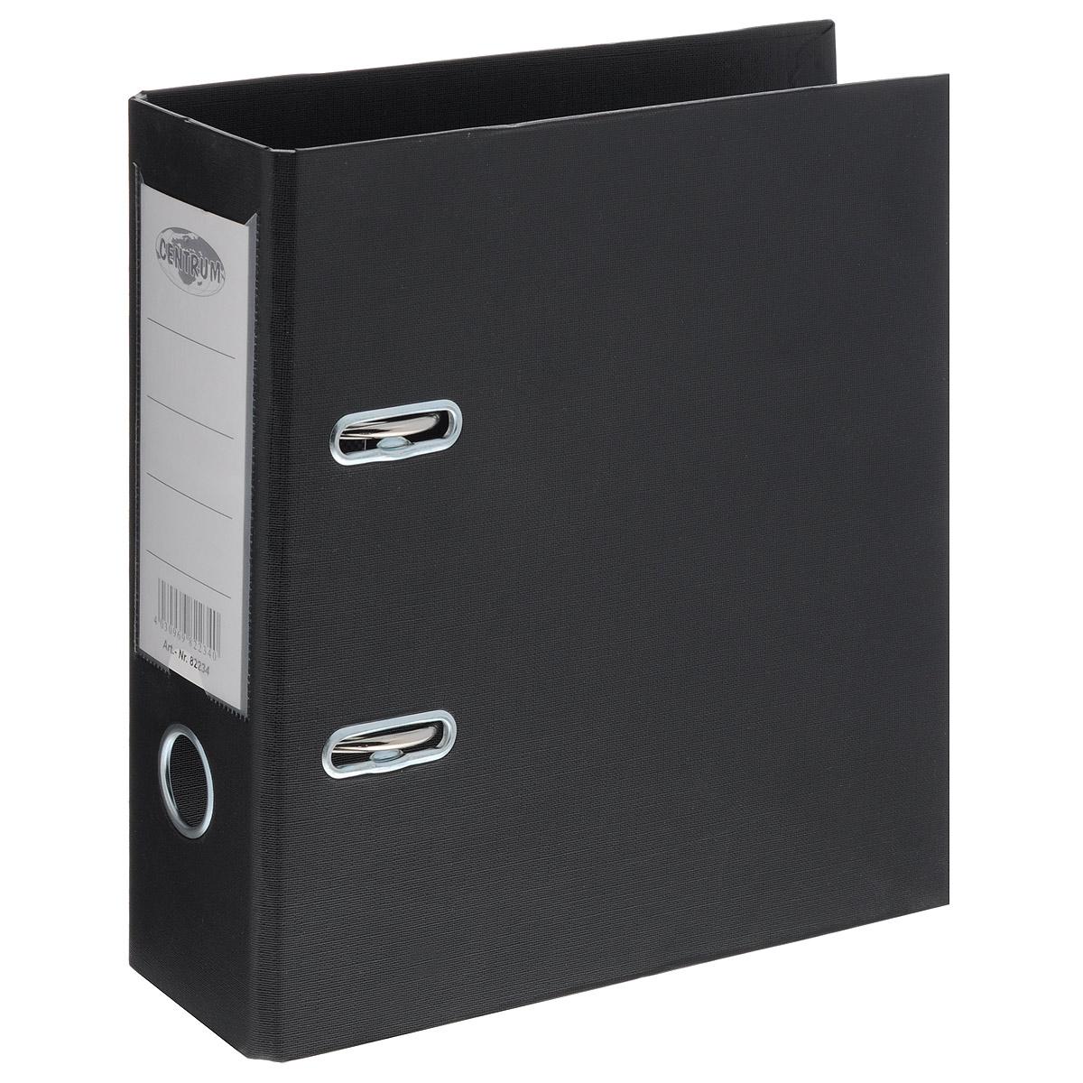 Папка-регистратор Centrum, ширина корешка 80 мм, цвет: черный82234Папка-регистратор Centrum пригодится в каждом офисе и доме для хранения больших объемов документов. Внешняя сторона папки выполнена из плотного картона с двусторонним ПВХ-покрытием, что обеспечивает устойчивость к влаге и износу. Папка-регистратор оснащена надежным арочным механизмом крепления бумаги. Круглое отверстие в корешке папки облегчит ее извлечение с полки, а прозрачный карман со съемной этикеткой позволяет маркировать содержимое. Ширина корешка 8 см.