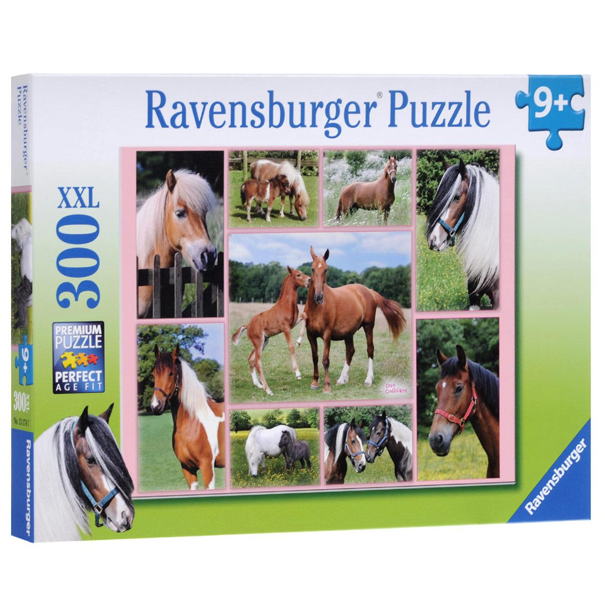 Ravensburger Галерея лошадей. Пазл XXL, 300 элементов13174Пазл Ravensburger Галерея лошадей, без сомнения, придется по душе вашему ребенку. Собрав этот пазл, включающий в себя 300 элементов, вы получите великолепную картину. Каждая деталь имеет свою форму и подходит только на своё место. Нет двух одинаковых деталей! Пазл изготовлен из картона высочайшего качества. Все изображения аккуратно отсканированы и напечатаны на ламинированной бумаге. Пазлы - замечательная развивающая игра для детей. Собирание пазла развивает у ребенка мелкую моторику рук, тренирует наблюдательность, логическое мышление, знакомит с окружающим миром, с цветом и разнообразными формами, учит усидчивости и терпению, аккуратности и вниманию.