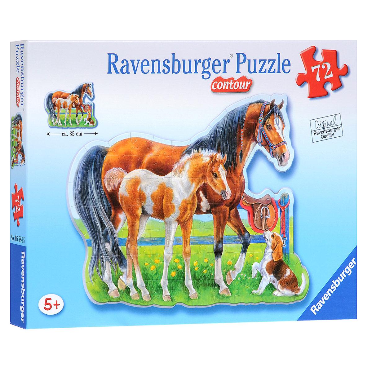 Ravensburger Лошади. Пазл контурный, 72 элемента05584Контурный пазл Ravensburger Лошади, без сомнения, придется по душе вашему малышу. На пазле представлены лошадь, жеребенок и собачка. Благодаря особой контурной форме пазла, складывать картинки стало еще интереснее! Представленный пазл Лошади, состоящий из 72 элементов, порадует вас и вашего ребенка красивой картинкой, качественной полиграфией и идеальной стыковкой элементов, изготовленных из плотного картона и не деформируюшихся при сборке. Собирать пазлы от Ravensburger можно снова и снова! Собирание пазла развивает мелкую моторику у ребенка, тренирует наблюдательность, логическое мышление, знакомит с окружающим миром, с цветом и разнообразными формами. С пазлами от Ravensburger Ваш ребенок будет весело и с пользой проводить свое свободное время!