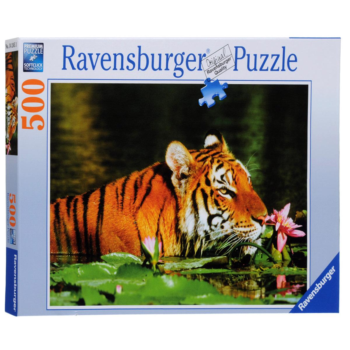 Ravensburger Тигр в лилиях. Пазл, 500 элементов14245Пазл Тигр в лилиях, без сомнения, придется вам по душе, и вы получите массу удовольствия от процесса собирания картины. Собрав этот пазл, включающий в себя 500 элементов, вы получите великолепную картину с изображением тигра, плывущего среди лилий. Каждая деталь имеет свою форму и подходит только на своё место. Нет двух одинаковых деталей! Пазл изготовлен из картона высочайшего качества. Все изображения аккуратно отсканированы и напечатаны на ламинированной бумаге. Пазл - великолепная игра для семейного досуга. Сегодня собирание пазлов стало особенно популярным, главным образом, благодаря своей многообразной тематике, способной удовлетворить самый взыскательный вкус. А для детей это не только интересно, но и полезно. Собирание пазла развивает мелкую моторику у ребенка, тренирует наблюдательность, логическое мышление, знакомит с окружающим миром, с цветом и разнообразными формами.