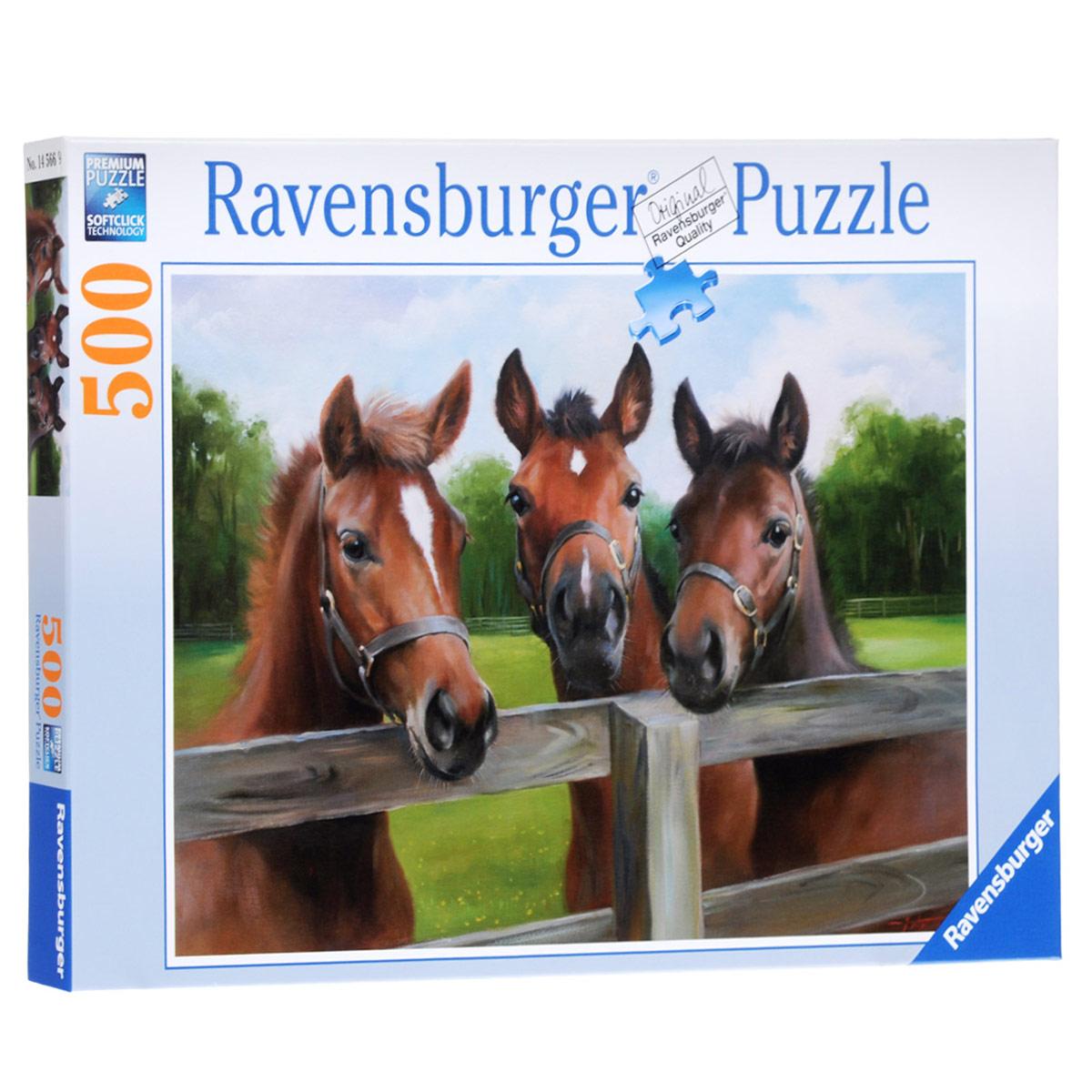 Ravensburger Три лошади. Пазл, 500 элементов14566Пазл Ravensburger Три лошади, без сомнения, придется по душе вам и вашему малышу. Собрав этот пазл, включающий в себя 500 элементов, вы получите великолепную картину с изображением трех лошадей. Пазл изготовлен по технологии Softclick, которая гарантирует 100% блокировку механизма. Каждая деталь имеет свою форму и подходит только на своё место. Нет двух одинаковых деталей! Пазл изготовлен из картона высочайшего качества. Все изображения аккуратно отсканированы и напечатаны на ламинированной бумаге. Пазл - великолепная игра для семейного досуга. Сегодня собирание пазлов стало особенно популярным, главным образом, благодаря своей многообразной тематике, способной удовлетворить самый взыскательный вкус. А для детей это не только интересно, но и полезно. Собирание пазла развивает мелкую моторику у ребенка, тренирует наблюдательность, логическое мышление, знакомит с окружающим миром, с цветом и разнообразными формами.