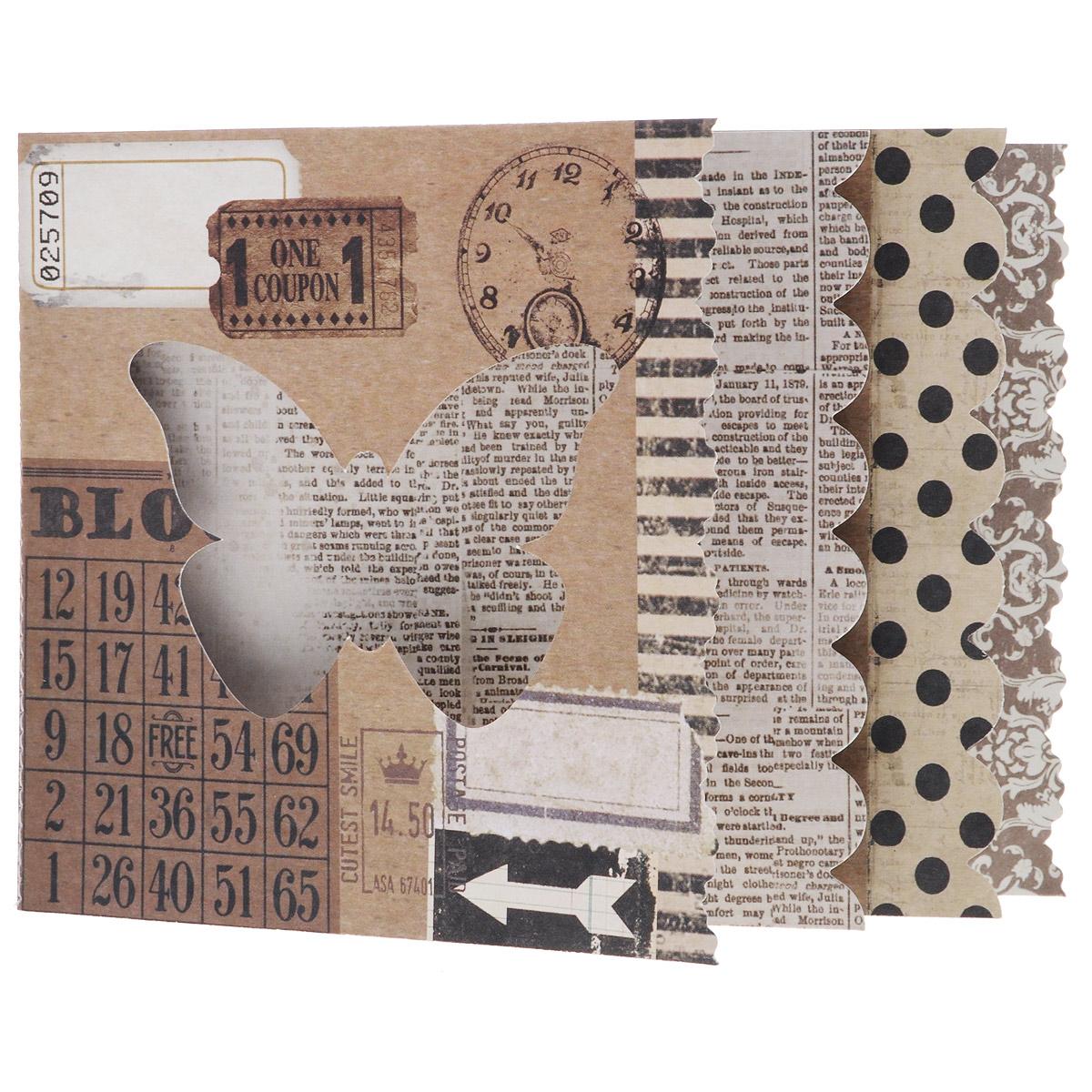 Мини-альбом Крафт, 11,5 х 16,5 см, 4 листа545555Мини-альбом Крафт позволит создать красивый альбом ручной работы. Он состоит из 4 листов и имеет 2 разворота. Листы из плотной бумаги оформлены разным дизайном. Бумага не содержит лигнин и хлор.