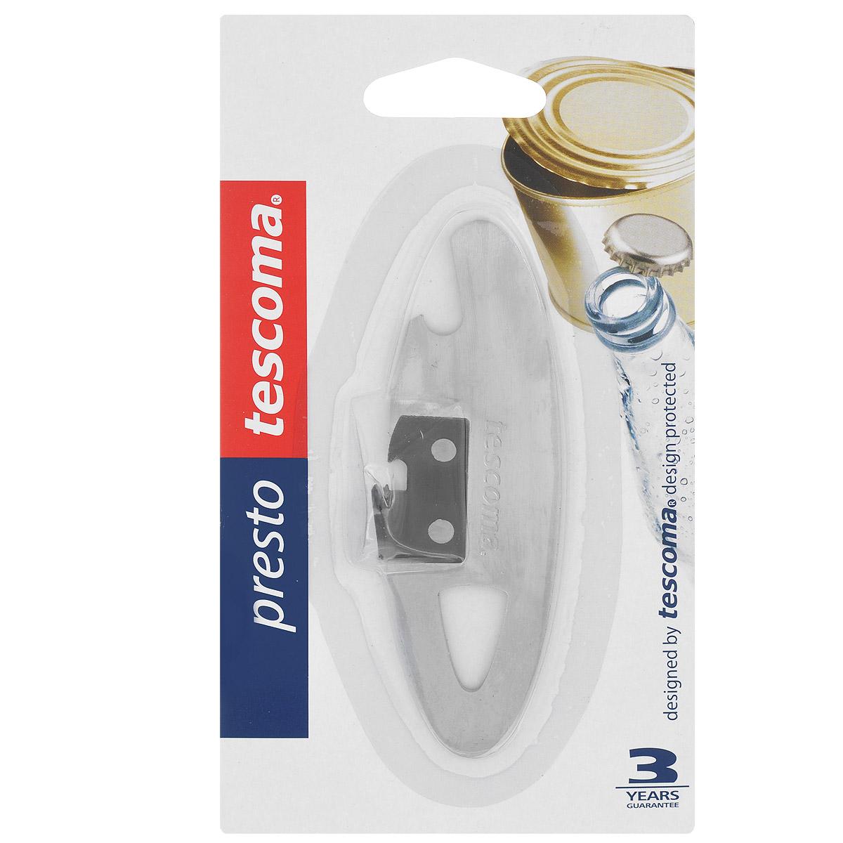 Нож консервный Tescoma Presto, компактный, длина 10,5 см420252Консервный нож Tescoma Presto выполнен из высококачественной нержавеющей стали 18/10. С помощью этого компактного консервного ножа вы сможете без приложения усилий со своей стороны открыть любую жестяную консервную банку. Консервный нож Tescoma Presto займет достойное место среди аксессуаров на вашей кухне. Оригинальный дизайн и качество исполнения не оставят равнодушными ни тех, кто любит готовить, ни опытных профессионалов-поваров. Общая длина ножа: 10,5 см. Компактный консервный нож Tescoma изготовлен из нержавеющей стали. Предназначен для удобного открывания консервов. Так же нож прекрасно подойдет для открывания бутылок с кронен-пробками.