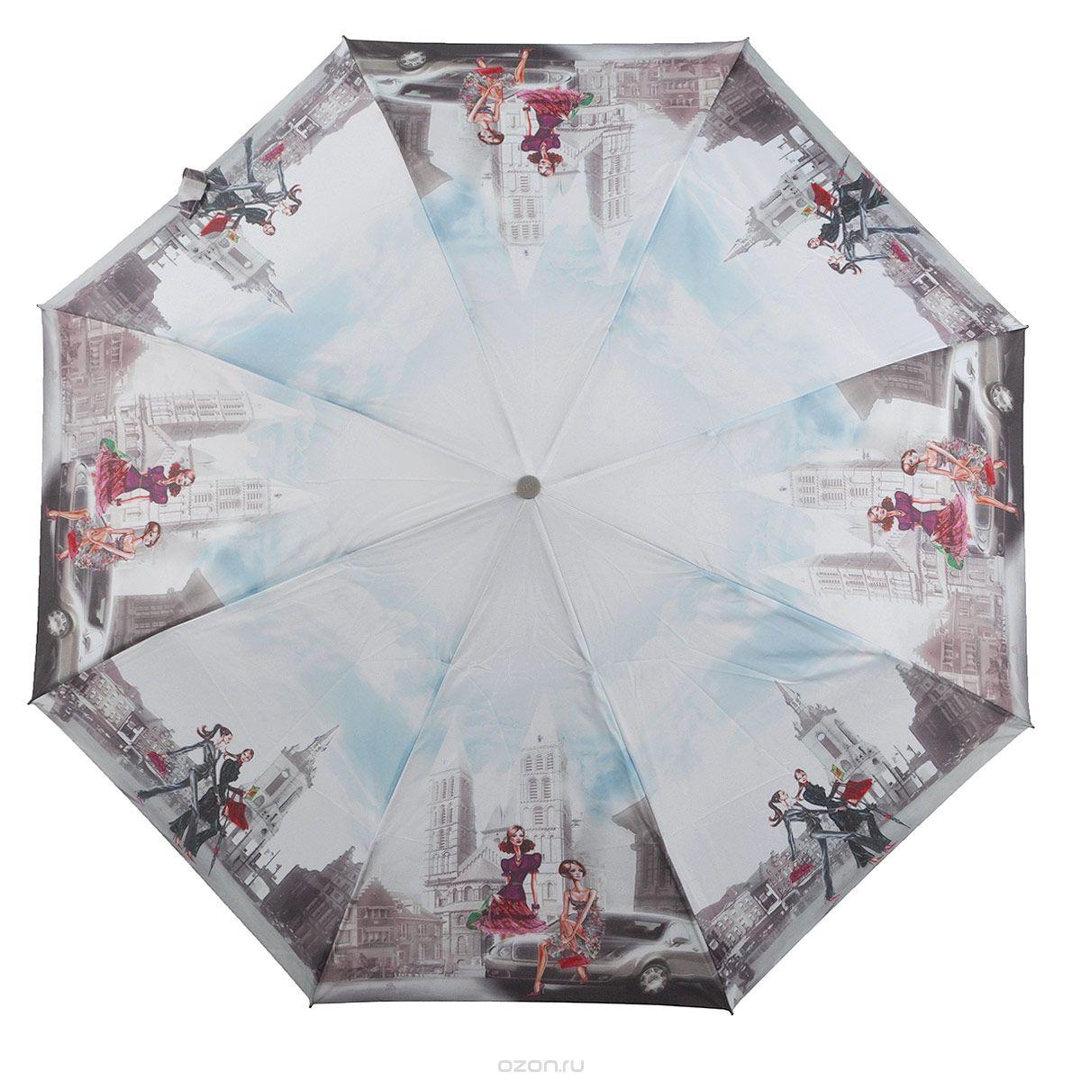 Зонт женский Zest, автомат, 3 сложения. 239455-05239455-05Женский автоматический зонт Zest в 3 сложения даже в ненастную погоду позволит вам оставаться стильной и элегантной. Каркас зонта состоит из 8 спиц из фибергласса и прочного стального стержня. Специальная система Windproof защищает его от поломок во время сильных порывов ветра. Купол зонта выполнен из прочного полиэстера с водоотталкивающей пропиткой и оформлен оригинальным изображением двух девушек. Используемые высококачественные красители, а также покрытие Teflon обеспечивают длительное сохранение свойств ткани купола. Рукоятка, разработанная с учетом требований эргономики, выполнена из приятного на ощупь прорезиненного пластика серого цвета. Зонт имеет полный автоматический механизм сложения: купол открывается и закрывается нажатием кнопки на рукоятке, стержень складывается вручную до характерного щелчка, благодаря чему открыть и закрыть зонт можно одной рукой, что чрезвычайно удобно при входе в транспорт или помещение. На рукоятке для удобства есть небольшой...