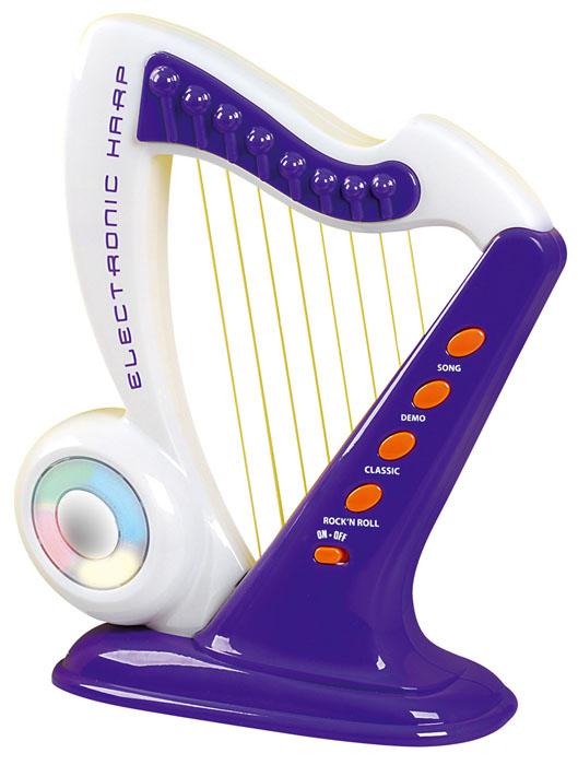 Playgo Музыкальная игрушка Электронная арфаPlay 4360Стильная музыкальная игрушка Playgo Электронная арфа позволит вашему ребенку почувствовать себя настоящим музыкантом. Арфа изготовлена из прочного пластика и выглядит совсем как настоящая. Малыш сможет прослушать 10 встроенных оригинальных композиций в различных стилях, и подыграть им, а во время звучания мелодии диск на корпусе арфы будет мерцать разноцветными огоньками. Благодаря струнам из тонкой лески, ребенок сможет сочинить свою собственную мелодию! На задней стороне корпуса арфы расположен переключатель, регулирующий натяжение струн. Музыкальная игрушка поможет развить слух, чувство ритма и музыкальные способности малыша, и он порадует вас веселым концертом! Рекомендуется докупить 3 батарейки напряжением 1,5V типа АА (товар комплектуется демонстрационными).