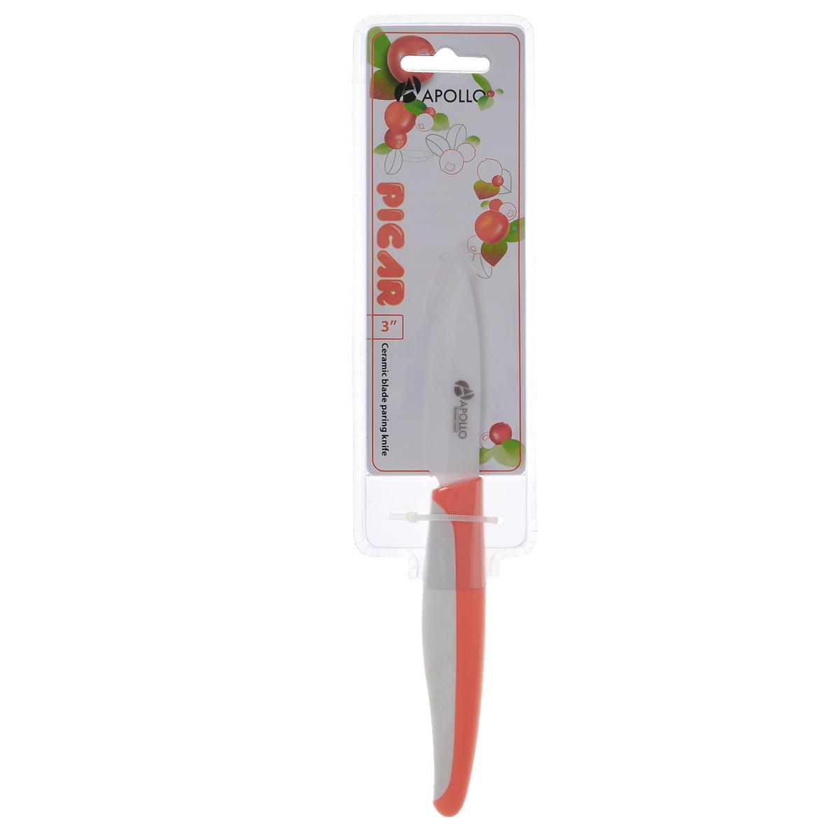 Нож для чистки овощей Apollo Picar, керамический, цвет: оранжевый, длина лезвия 8 смPCR-03оранжевыйНож Apollo Picar изготовлен из высококачественной циркониевой керамики - гигиеничного, экологически чистого материала. Нож имеет острое лезвие, не требующее дополнительной заточки. Эргономичная рукоятка выполнена из высококачественного пищевого пластика. Рукоятка не скользит в руках и делает резку удобной и безопасной. Такой нож желательно использовать для нарезки овощей, фруктов или других мягких продуктов. Керамика - это отличная альтернатива металлу. В отличие от стальных ножей, керамические ножи не переносят ионы металла в пищу, не разрушаются от кислот овощей и фруктов и никогда не заржавеют. Этот нож будет служить вам многие годы при соблюдении простых правил. Общая длина ножа: 19 см.