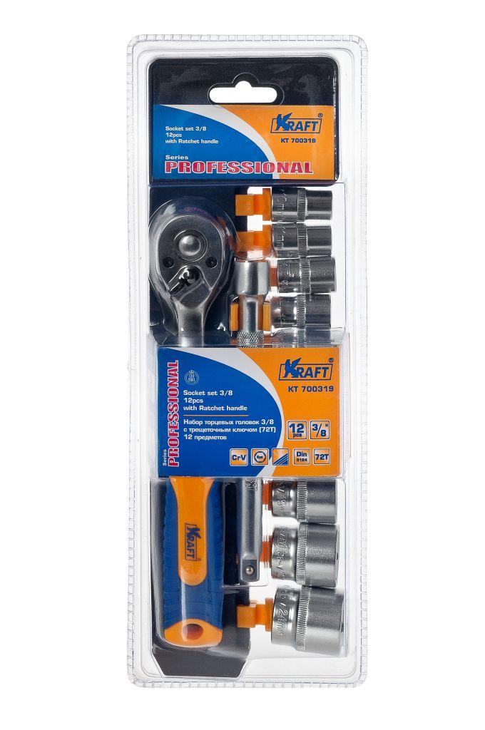 Набор торцевых головок Kraft Professional, с трещоточным ключом, 3/8, 12 предметовКТ700319Набор слесарно-монтажного инструмента Kraft Professional предназначен для работы с резьбовыми соединениями. Торцевые головки имеют шестигранный зев и посадочное место для присоединительного квадрата 3/8. Головка с храповым механизмом устраняет необходимость каждый раз устанавливать ключ на крепежный элемент. Состав набора: шестигранные торцевые головки 3/8: 10 мм, 11 мм, 12 мм, 13 мм, 14 мм, 15 мм, 17 мм, 19 мм, 22 мм, 24 мм; рукоятка трещоточная с быстрым сбросом 3/8: 210 мм, 72 зубца; удлинитель 3/8: 150 мм. Торцевые головки Kraft Professional изготовлены из хромованадиевой стали марки 50BV30 со специальным трехслойным покрытием, обеспечивающим долговременную защиту от механических повреждений.