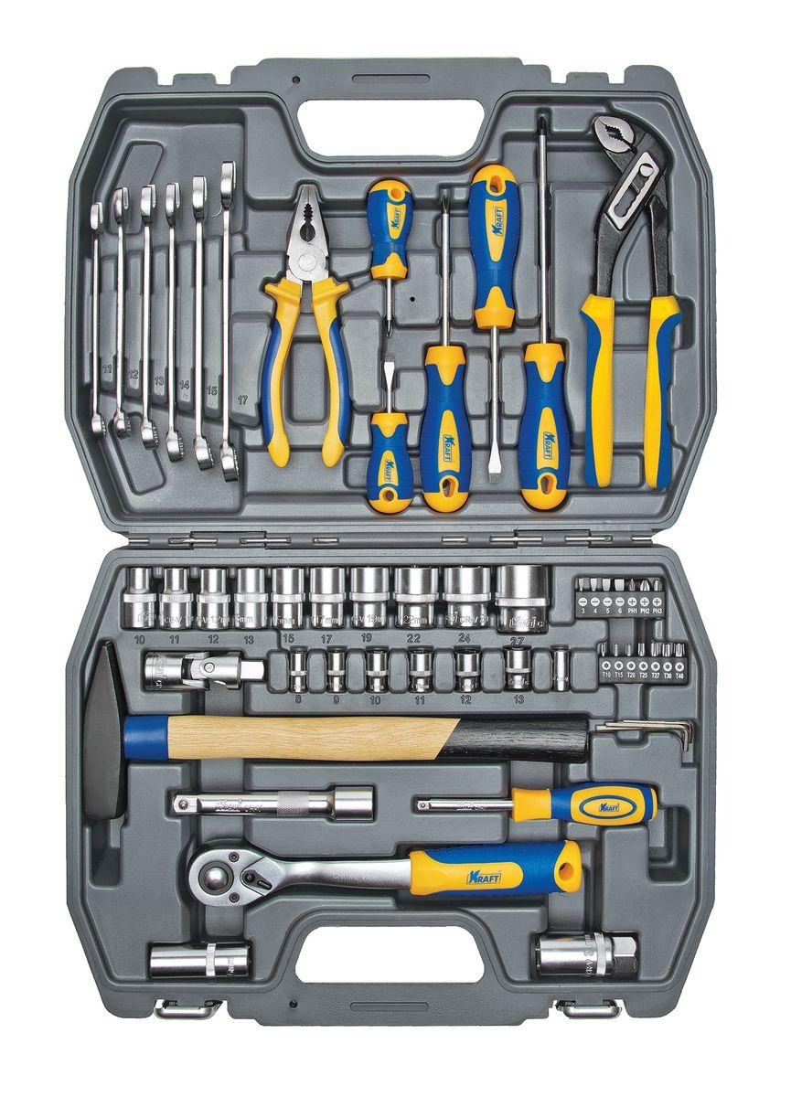 """Набор инструментов Kraft """"Professional"""", универсальный, 1/2"""", 1/4"""", 56 предметов"""