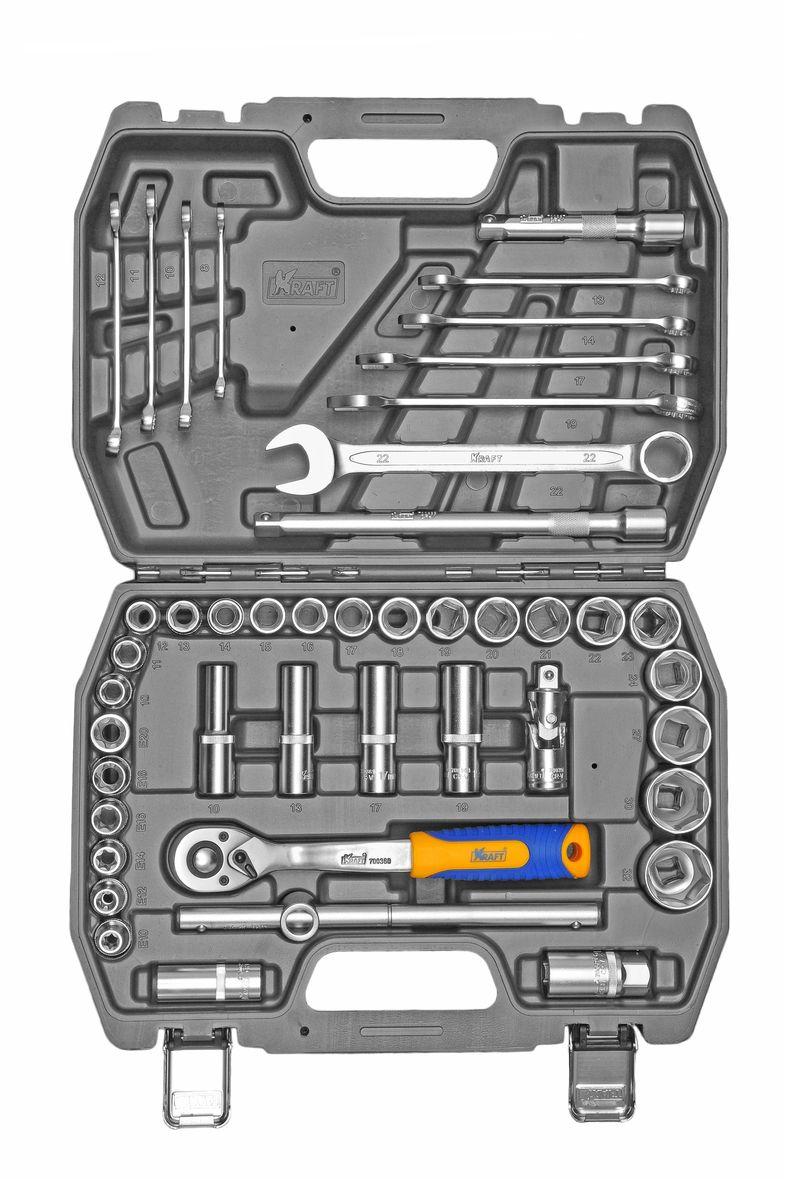 Набор инструментов Kraft Professional, 1/2, 44 предметаКТ 700683Набор инструментов Kraft Professional базовой комплектации позволяет производить обслуживание резьбовых соединений в диапазоне размеров от 8 мм до 32 мм, а также с профилем E-star. Это полнофункциональный набор торцевых головок и принадлежностей для работы с приводом 1/2. Набор также оснащен комбинированными ключами. Набор инструментов Kraft Professional предназначен для укомплектования автомобилей и проведения несложных работ по обслуживанию авто-мототехники. Состав набора: головки торцевые шестигранные 1/2: 10 мм, 11 мм, 12 мм, 13 мм, 14 мм, 15 мм, 16 мм, 17 мм, 18 мм, 19 мм, 20 мм, 21 мм, 22 мм, 23 мм, 24 мм, 27 мм, 30 мм, 32 мм; головки торцевые E-star: Е10, Е12, Е14, Е16, Е18, Е20; головки торцевые глубокие 1/2: 10 мм, 13 мм, 17 мм, 19 мм; головки торцевые 1/2 свечные: 16 мм, 21 мм; удлинители 1/2: 125 мм, 250 мм; кардан шарнирный 1/2; вороток Т-образный 1/2; рукоятка трещоточная с быстрым сбросом...