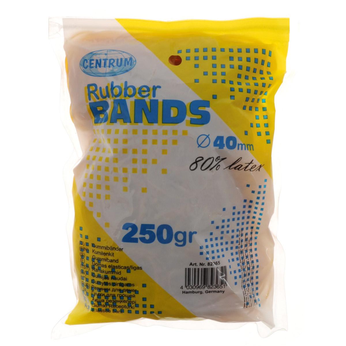 Резинки банковские Centrum, цвет: желтый, 4 см, 250 г82365Банковские резинки Centrum предназначены для перетягивания денежных купюр, пакетов, пластиковых карт, бумаг и визиток. Они изготовлены из каучука желтого цвета с латексом, благодаря чему их не так легко порвать, даже если сильно растянуть.