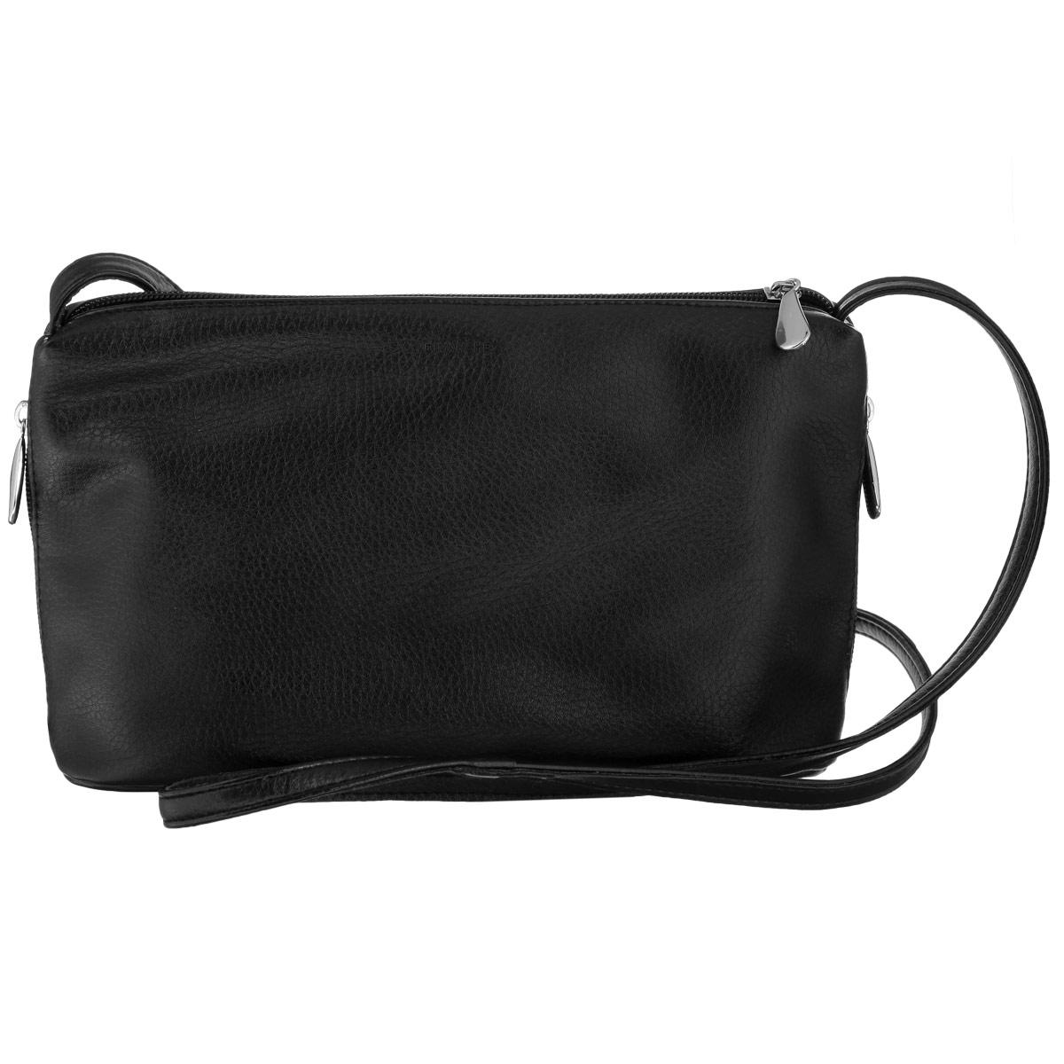 Сумка женская Dimanche, цвет: черный. 278/11278/11Изысканная женская сумка Dimanche изготовлена из искусственной кожи. Изделие закрывается на удобную застежку-молнию. Внутри - одно вместительное отделение, два накладных кармашка для мелочей, телефона и врезной карманчик на застежке-молнии. Модель оформлена двумя боковыми карманчиками на застежках-молниях. Сумка дополнена не съемным плечевым ремнем, регулирующимся по длине. Роскошная сумка внесет элегантные нотки в ваш образ и подчеркнет ваше отменное чувство стиля.