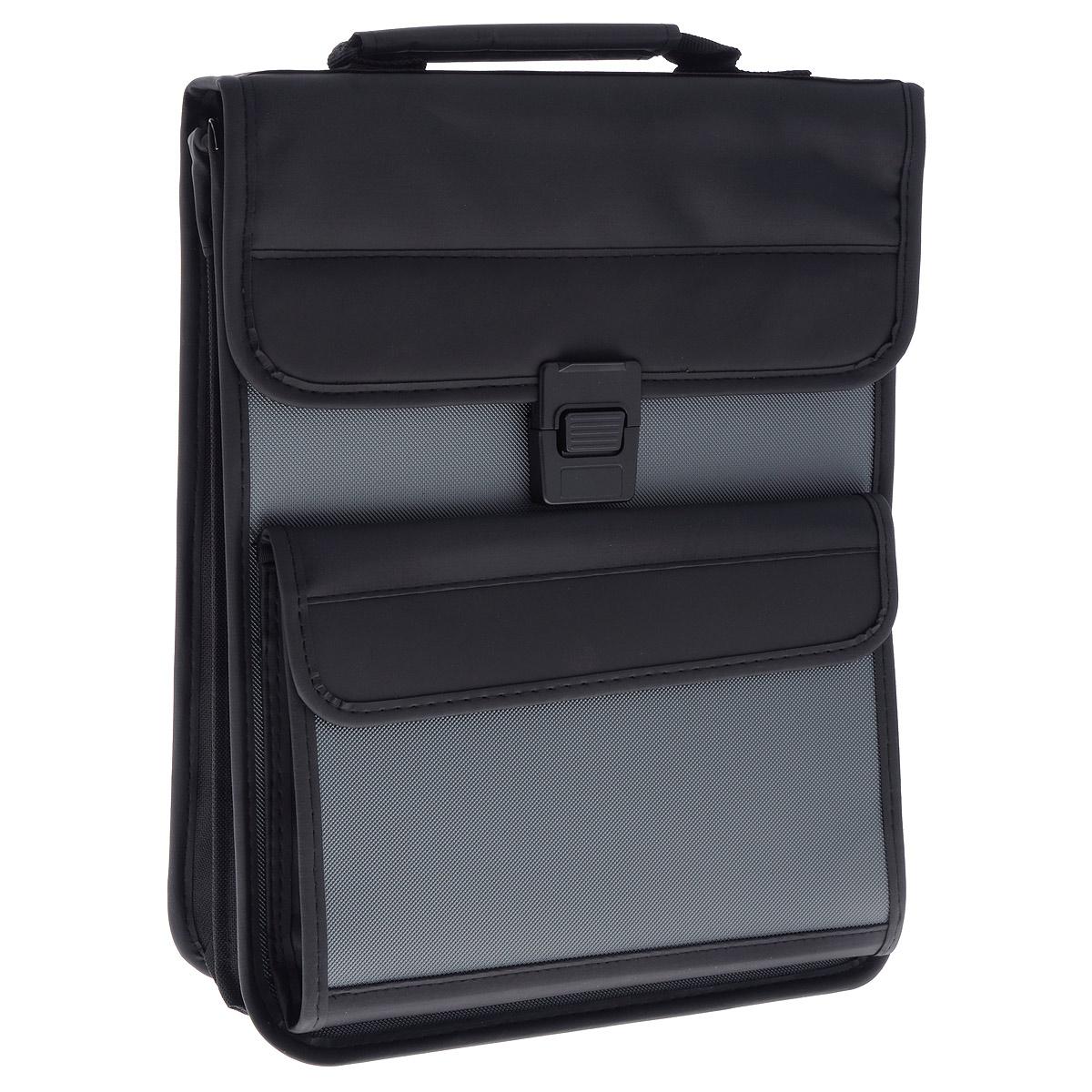 Berlingo Папка-портфель вертикальная цвет черный серыйADb_04048Вертикальная папка-портфель Berlingo - это удобный и практичный офисный инструмент, предназначенный для хранения и транспортировки большого количества рабочих бумаг и документов. Папка-портфель изготовлена из плотного пластика с зернистым тиснением, оснащена удобной ручкой для переноски, закрывается на широкий клапан с пластиковым замком. Грани папки имеют мягкую отделку, уголки укреплены металлическими накладками. Папка состоит из 2 отделений, разделенных средником на застежке-молнии. Внутри первого отделения расположены 2 открытых кармана и накладной карман, закрывающийся на клапан с липучкой, а также 3 кармашка для ручек. Фронтальная сторона сумки дополнена вместительным карманом, закрывающимся на клапан с липучкой, внутри которого расположен карман-сеточка на застежке-молнии. Папка оснащена удобным плечевым ремнем с эргономичной мягкой накладкой. Папка-портфель - это незаменимый атрибут для студента, школьника, офисного работника. Такая папка надежно сохранит ваши...