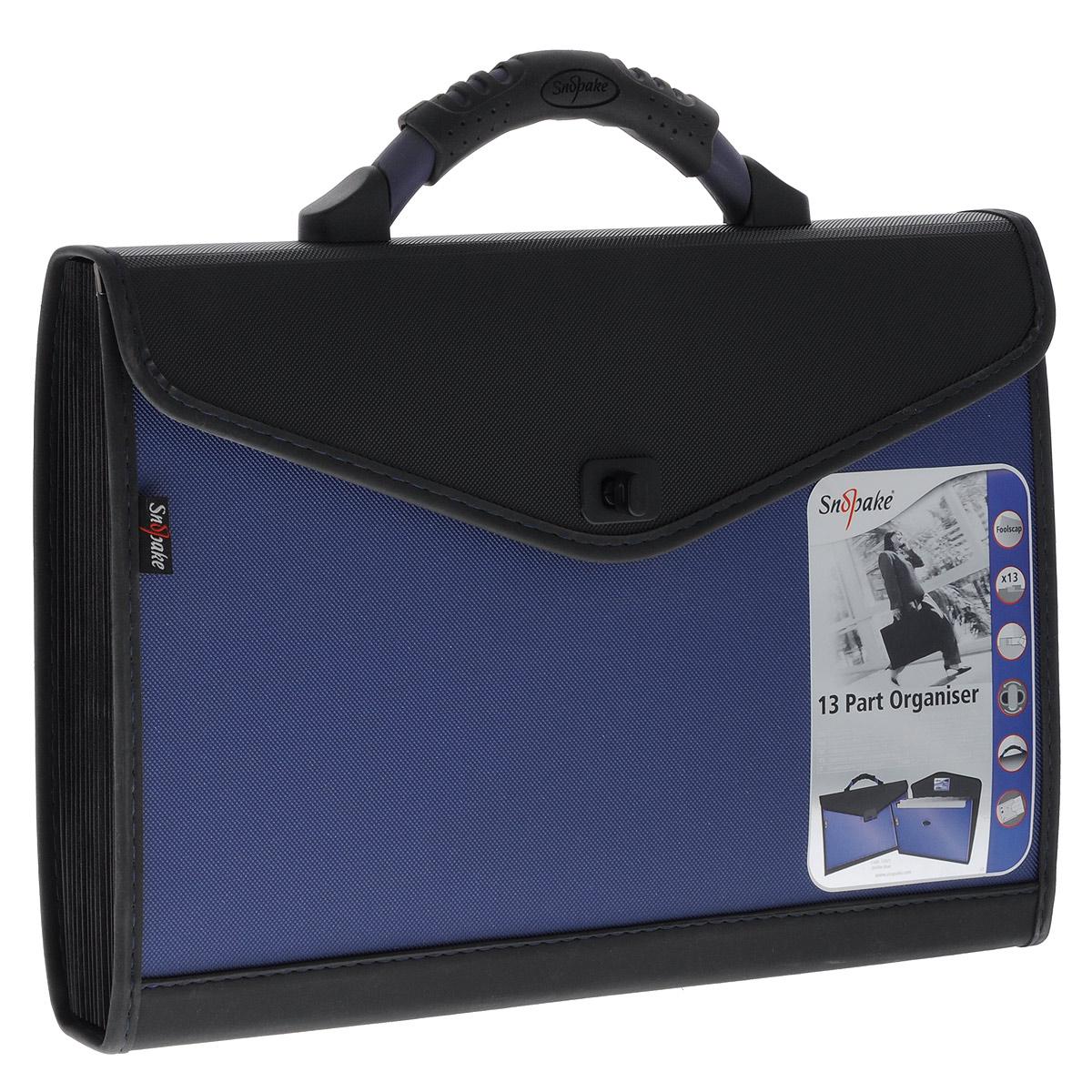 Папка-портфель Snopake InCase Organiser, 13 отделений, цвет: черный, темно-синийK13521