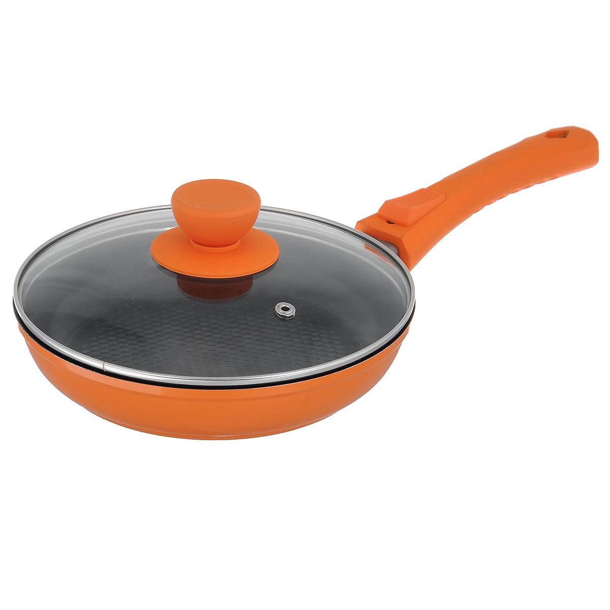 Сковорода Bohmann с крышкой, со съемной ручкой, с керамическим 3D покрытием, цвет: оранжевый. Диаметр 20 см. BH-7020/2-3D7020BH/2-3DСковорода Bohmann изготовлена из литого алюминия с антипригарным керамическим покрытием черного цвета с эффектом 3D. Внешнее покрытие - жаростойкий лак, который сохраняет цвет долгое время. Благодаря керамическому покрытию пища не пригорает и не прилипает к поверхности сковороды, что позволяет готовить с минимальным количеством масла. Кроме того, такое покрытие абсолютно безопасно для здоровья человека, так как не содержит вредной примеси PFOA. Рифленая внутренняя поверхность сковороды обеспечивает быстрое и легкое приготовление. Достоинства керамического покрытия: - устойчивость к высоким температурам и резким перепадам температур, - устойчивость к царапающим кухонным принадлежностям и абразивным моющим средствам, - устойчивость к коррозии, - водоотталкивающий эффект, - покрытие способствует испарению воды во время готовки, - длительный срок службы, - безопасность для окружающей среды и человека. Сковорода быстро...