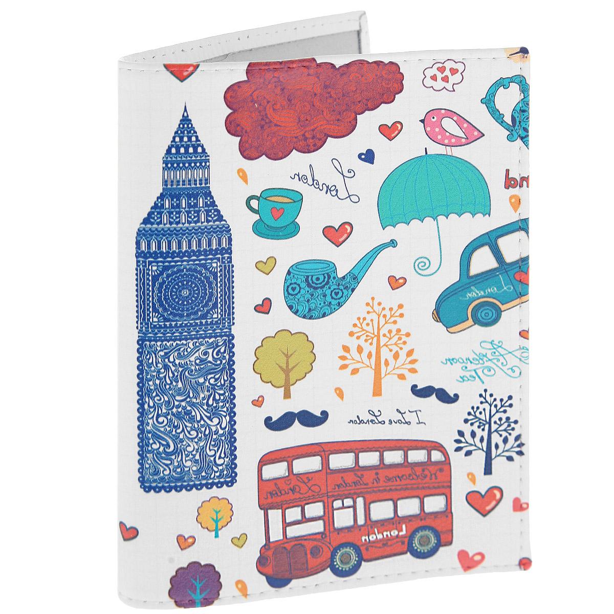 Обложка для паспорта Утренний Лондон. OK225OK225Обложка для паспорта Mitya Veselkov Утренний Лондон выполнена из натуральной кожи и оформлена изображением Биг-Бена и другими яркими рисунками. Такая обложка не только поможет сохранить внешний вид ваших документов и защитит их от повреждений, но и станет стильным аксессуаром, идеально подходящим вашему образу. Яркая и оригинальная обложка подчеркнет вашу индивидуальность и изысканный вкус. Обложка для паспорта стильного дизайна может быть достойным и оригинальным подарком.